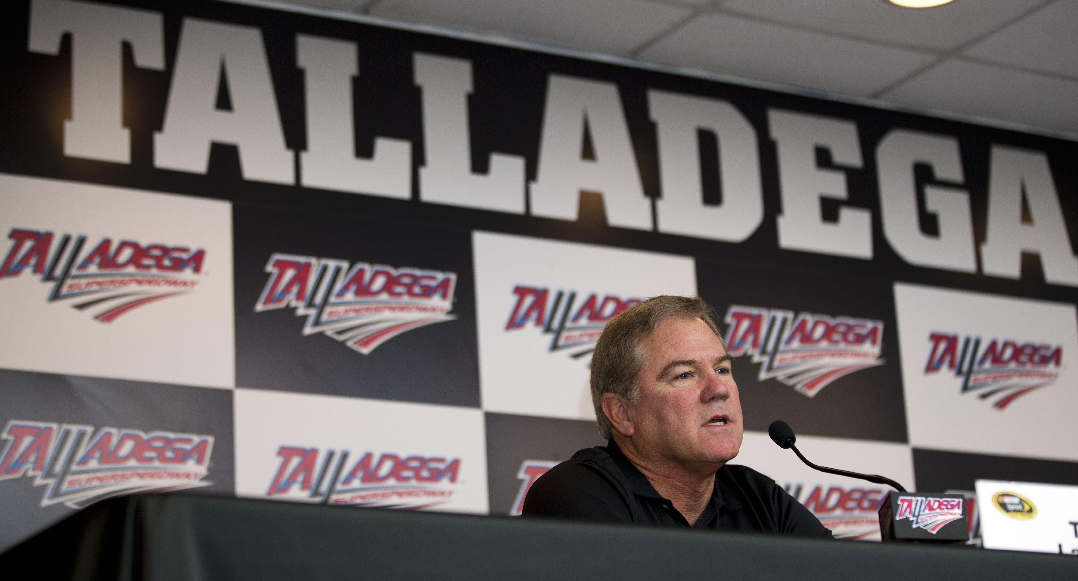 NASCAR driver Terry Labonte announces his retirement during a news conference at Talladega Superspeedway, Saturday, Oct. 18, 2014, in Talladega, Ala. (AP Photo/John Bazemore)