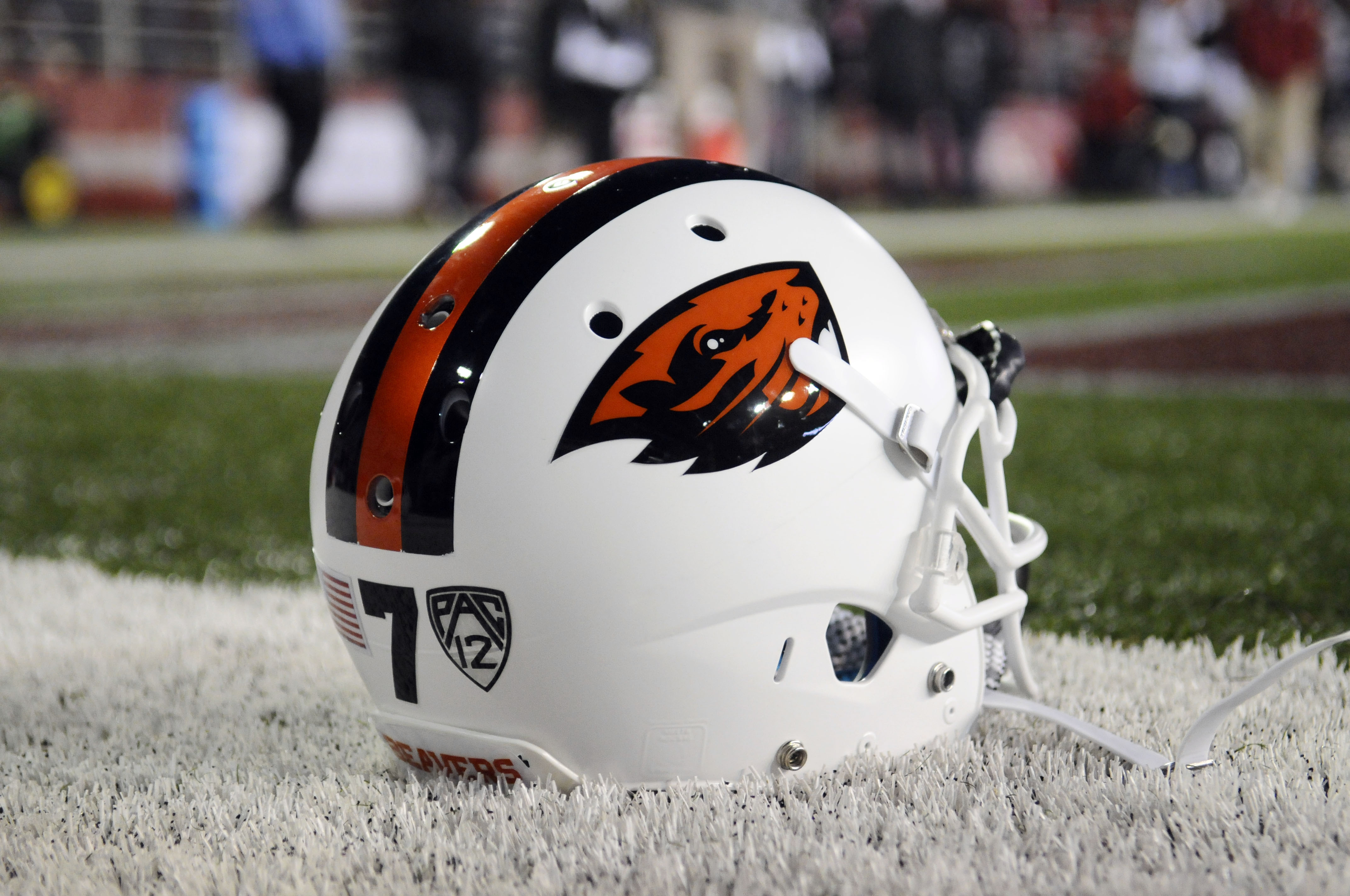 Oct 12, 2013; Pullman, WA, USA; Oregon State Beavers helmet sits on the sideline before a game against the Washington State Cougars at Martin Stadium. (James Snook-USA TODAY Sports)