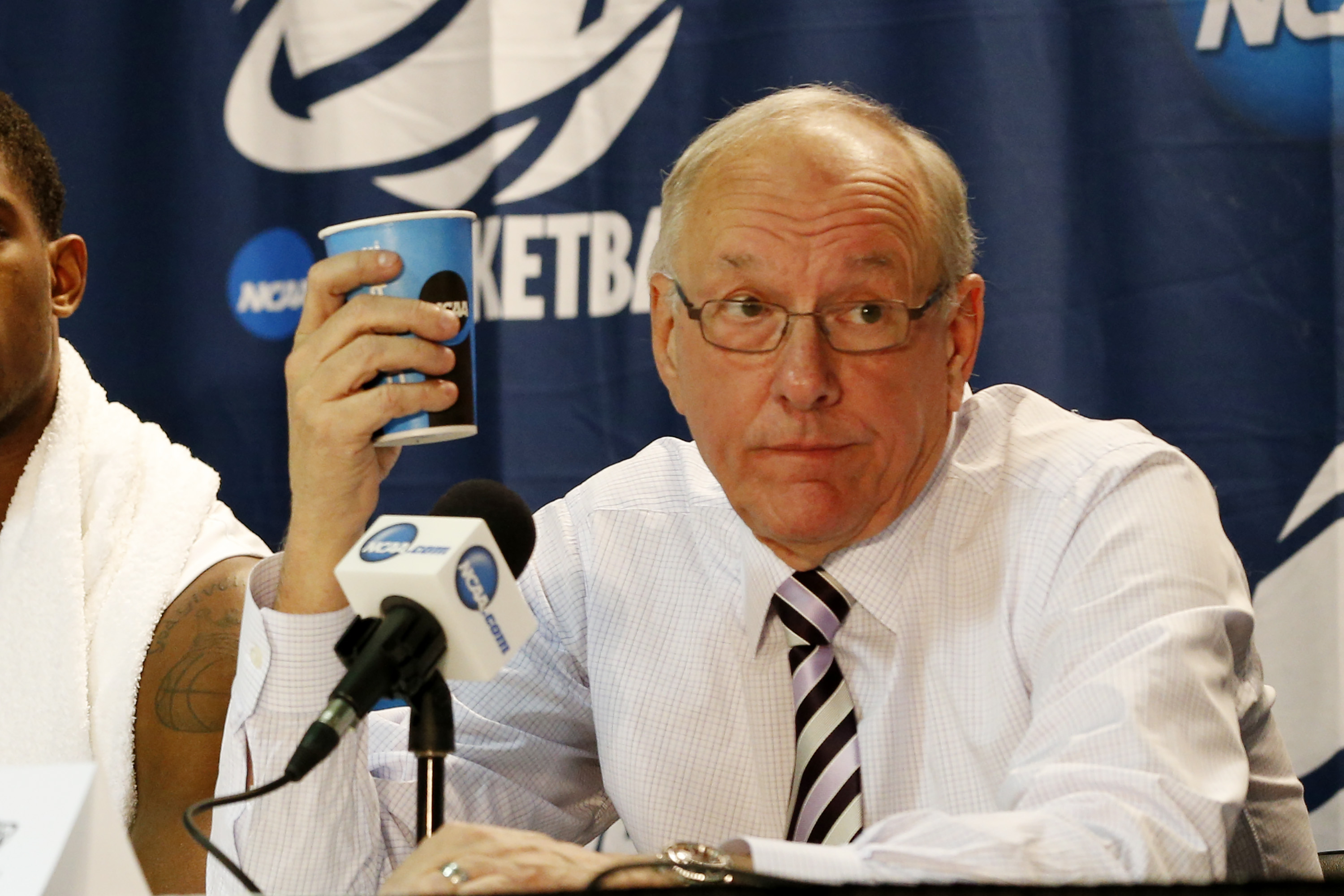 Mar 22, 2014; Buffalo, NY, USA; Syracuse Orange head coach Jim Boeheim answers questions at a news conference after a men's college basketball game against Dayton Flyers after the third round of the 2014 NCAA Tournament at First Niagara Center. (Kevin Hoffman-USA TODAY Sports)