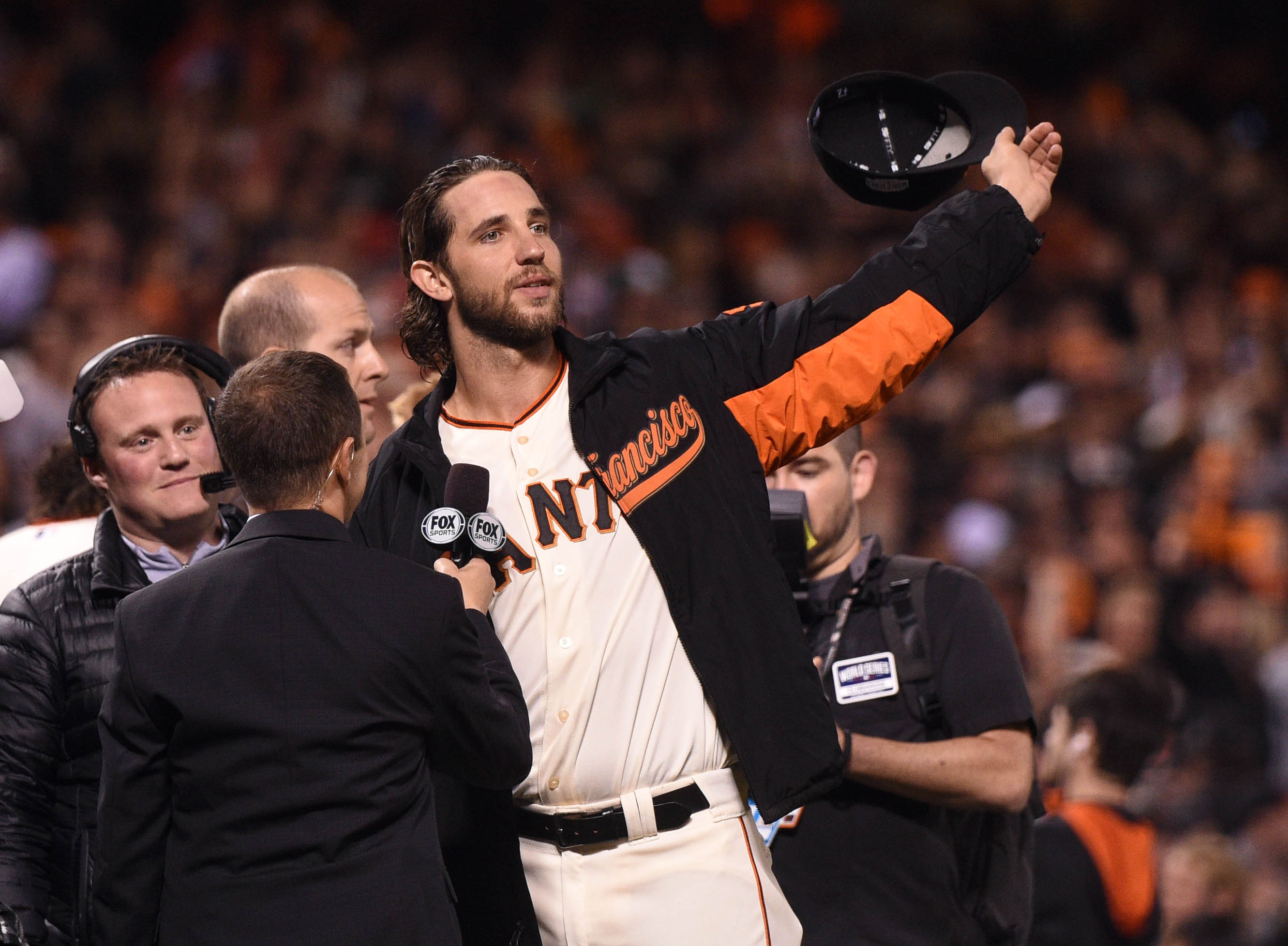 Madison Bumgarner after his Game 5 shutout. (USA TODAY Sports)