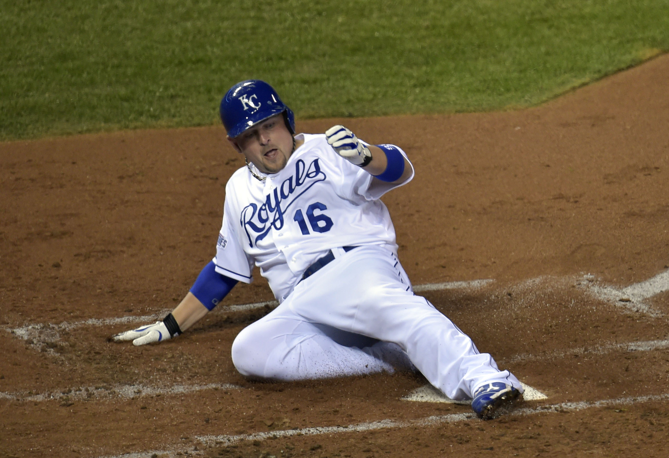Billy Butler scores a run against the Giants during game seven. (USAT)