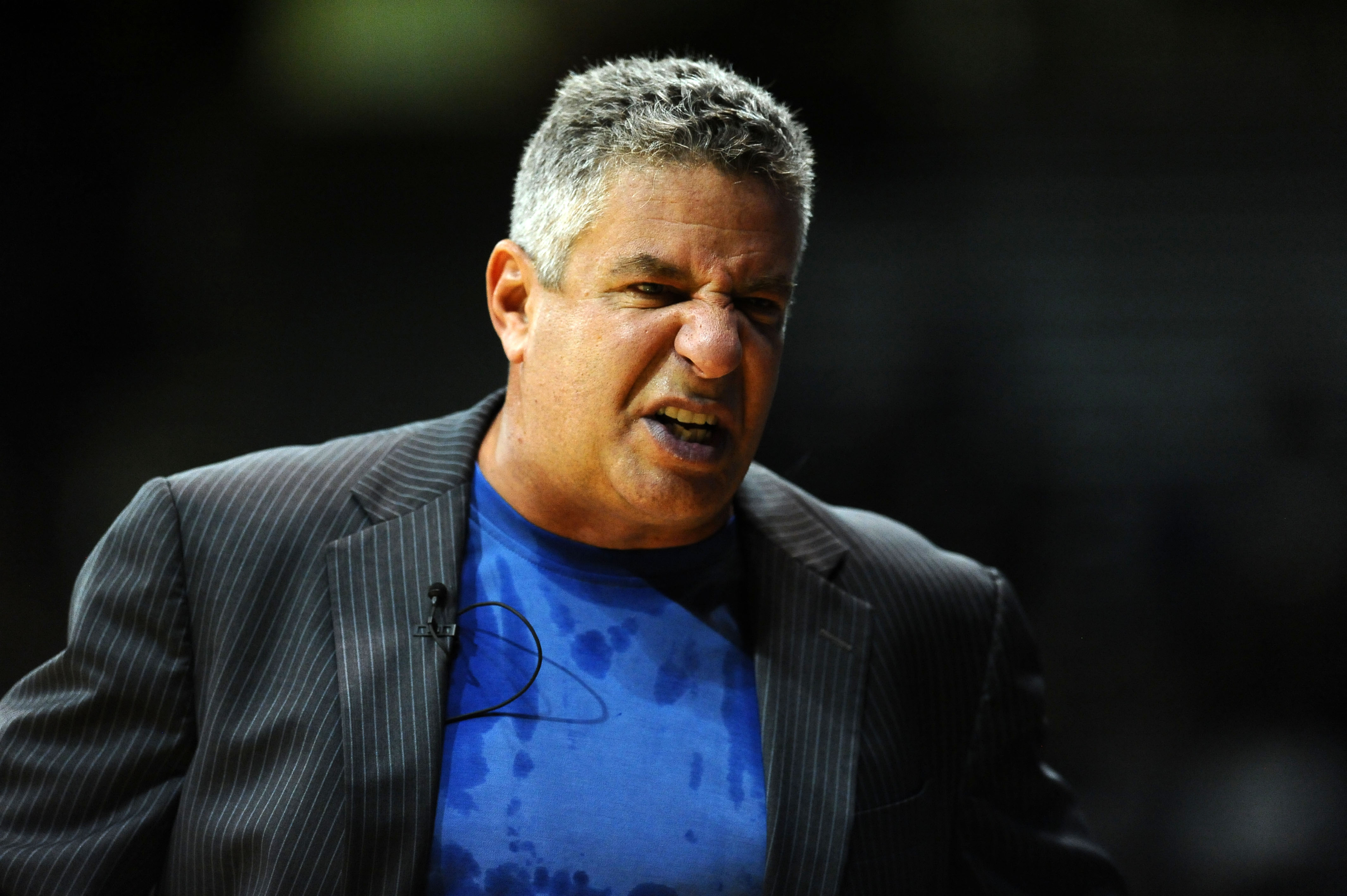 Nov 17, 2014; Boulder, CO, USA; Auburn Tigers head coach Bruce Pearl calls out to his bench in the first half against the Colorado Buffaloes at Coors Events Center. (Ron Chenoy-USA TODAY Sports)