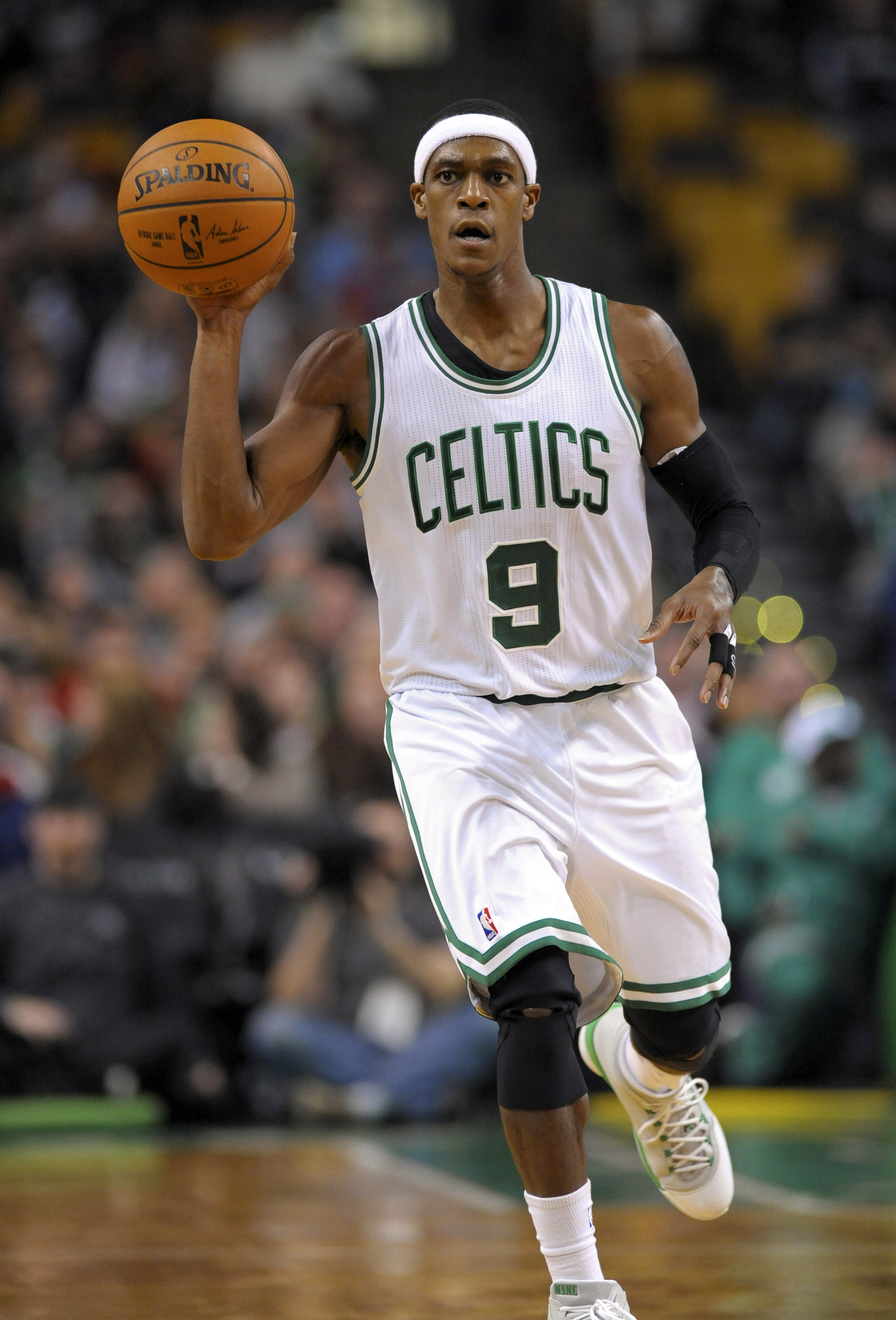 Nov 23, 2014; Boston, MA, USA; Boston Celtics guard Rajon Rondo (9) controls the ball during the second half against the Portland Trail Blazers at TD Garden. (Bob DeChiara-USA TODAY Sports)