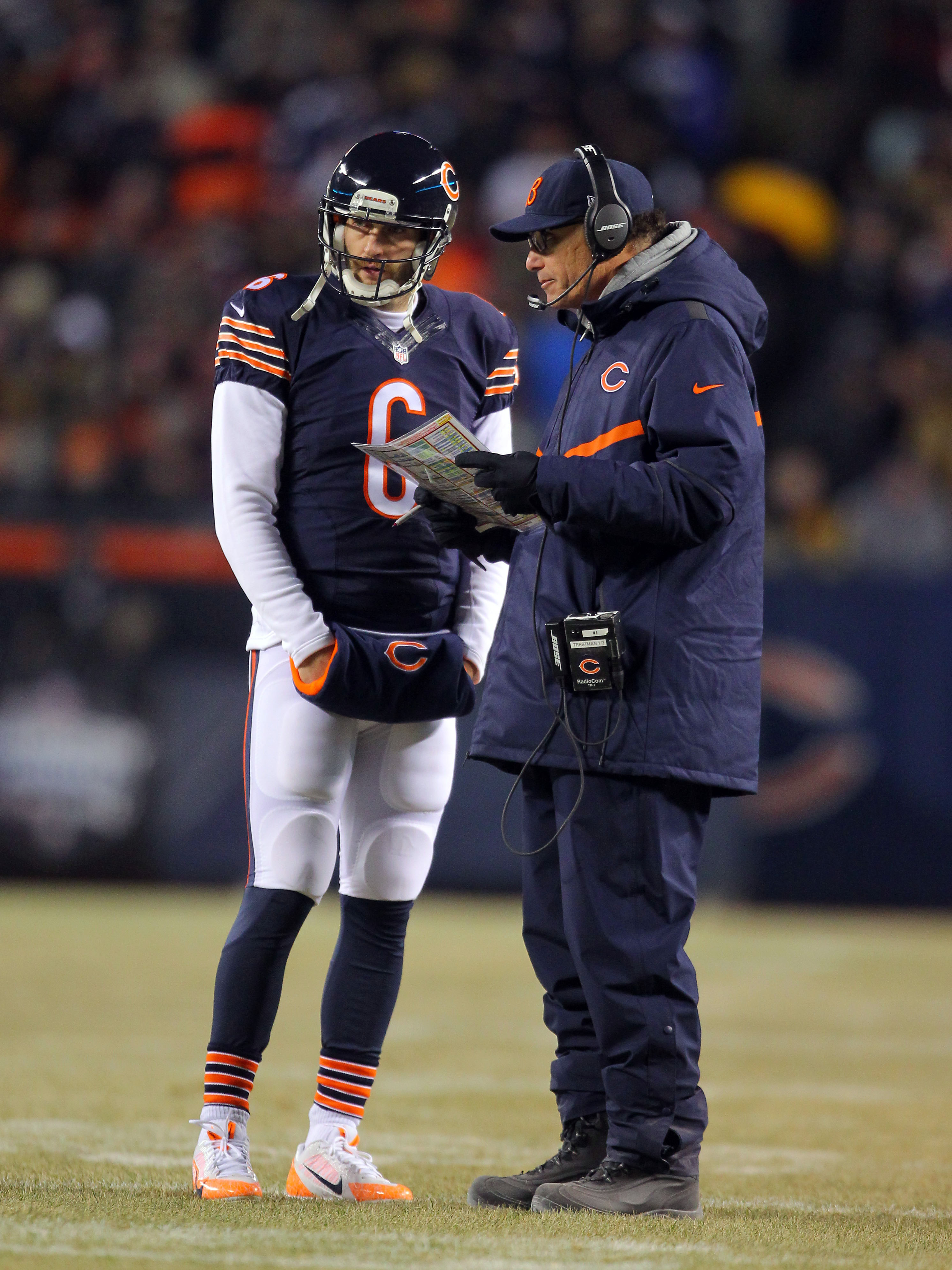 Jay Cutler and Marc Trestman (USA Today Sports Images)