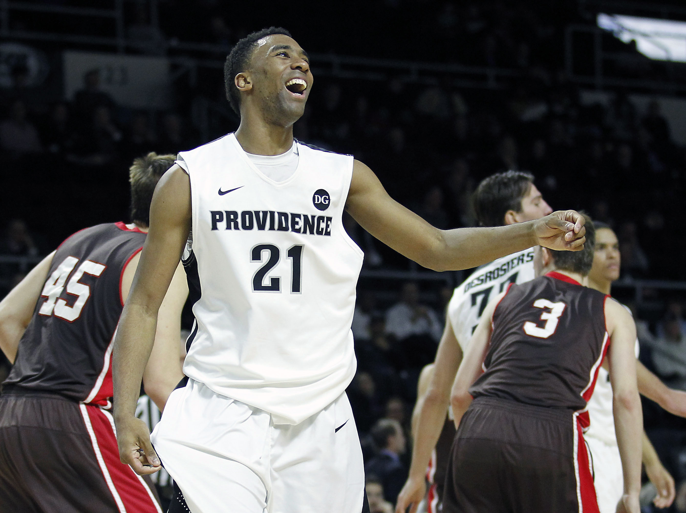 Providence Friars guard Jalen Lindsey (21) reacts to a foul called on him (USATSI)