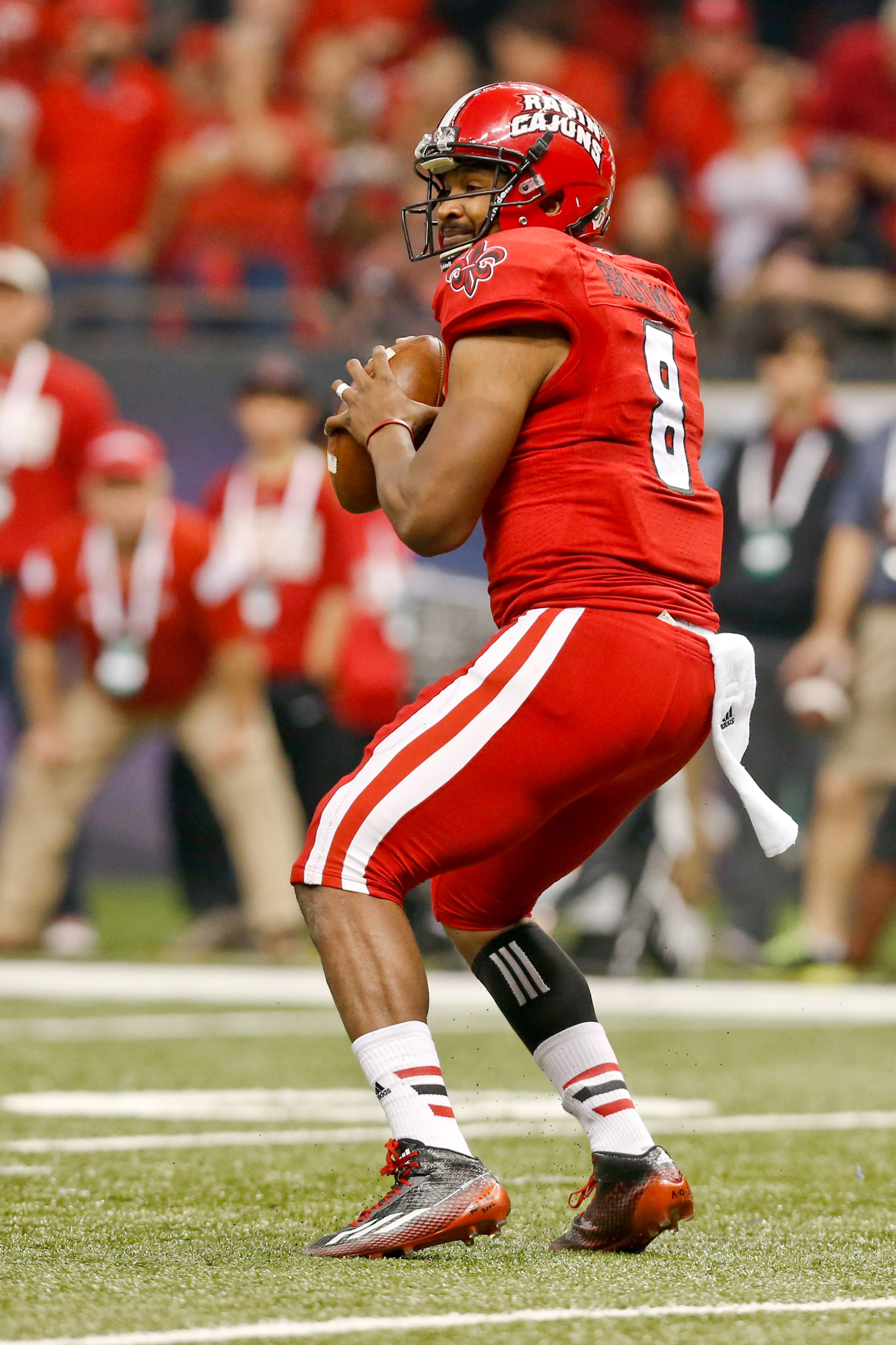 Dec 20, 2014; New Orleans, LA, USA; Louisiana-Lafayette Ragin Cajuns quarterback Terrance Broadway (8) against the Nevada Wolf Pack during the second quarter of the New Orleans Bowl at the Mercedes-Benz Superdome. (Derick E. Hingle-USA TODAY Sports)
