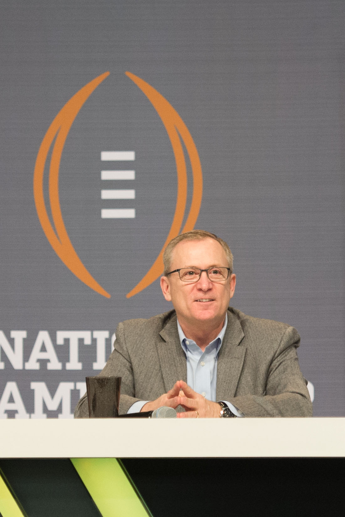 January 10, 2015; Arlington, TX, USA; College Football Playoff selection committee chairman Jeff Long speaks during fanfest at Dallas Convention Center. (Kyle Terada-USA TODAY Sports)