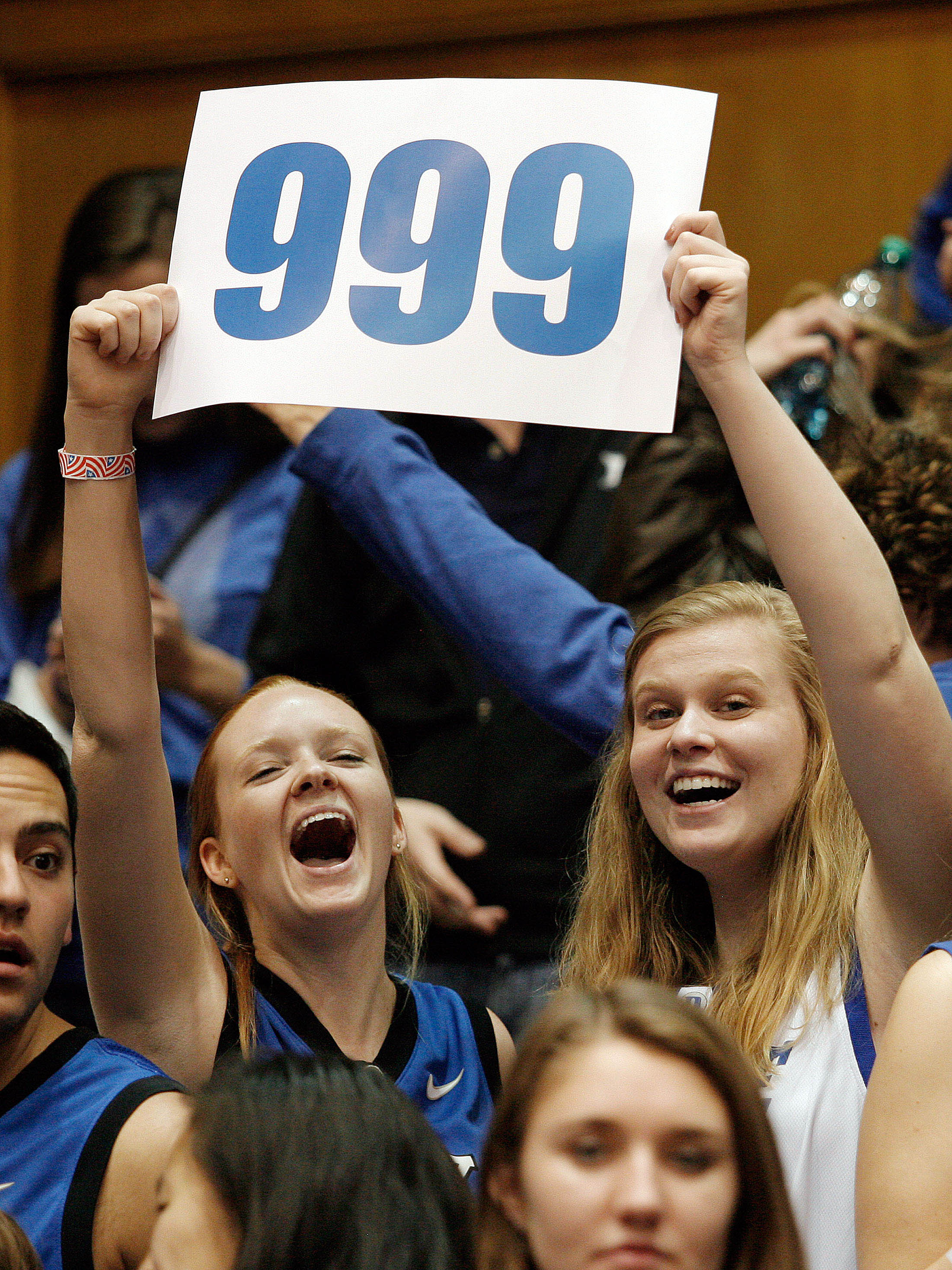 Duke fans celebrate their 79-65 win over Pitt, marking Mike Krzyzewski's 999th career win. (USA TODAY Sports)