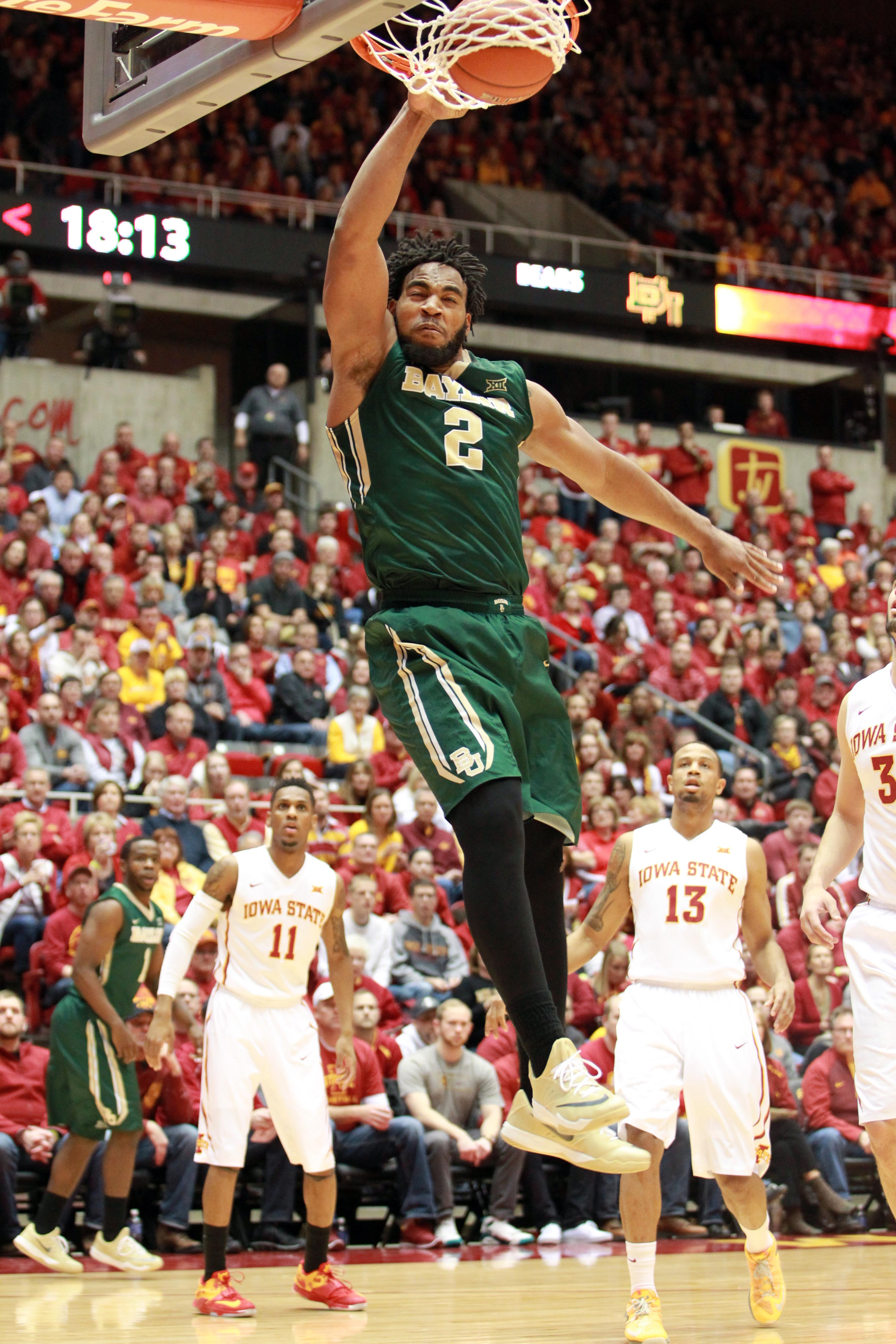 Feb 25, 2015; Ames, IA, USA; Baylor Bears forward Rico Gathers (2) dunks against the Iowa State Cyclones at James H. Hilton Coliseum. (Reese Strickland-USA TODAY Sports)