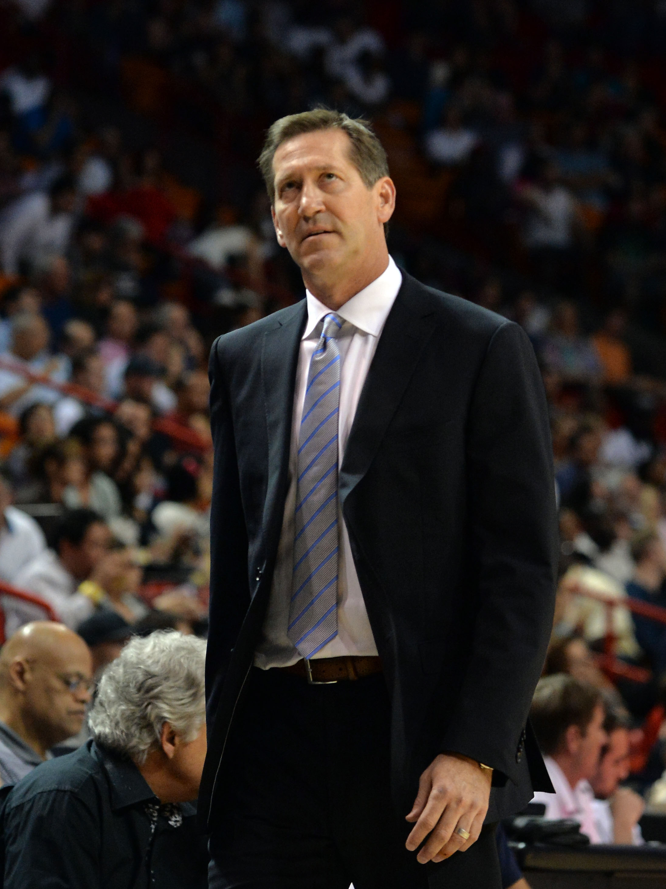Jeff Hornacek looks upstairs for an answer. (Steve Mitchell-USA TODAY Sports)