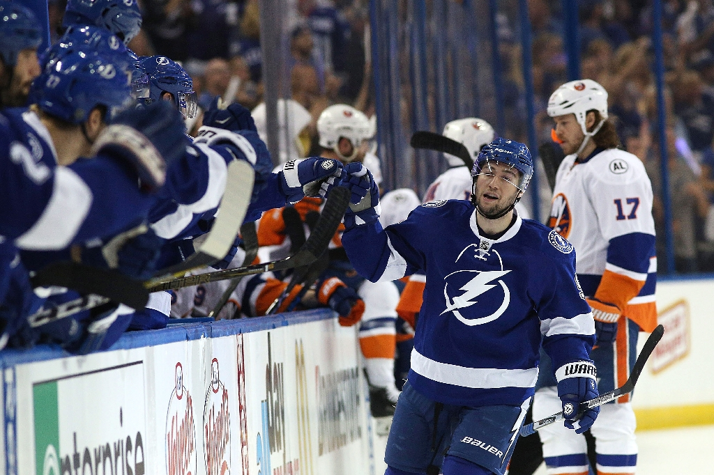 Tyler Johnson of the Tampa Bay Lightning celebrates his goal against the New York Islanders during game two of the Eastern Conference second round, on April 30, 2016 in Tampa (AFP Photo/Scott Iskowitz)