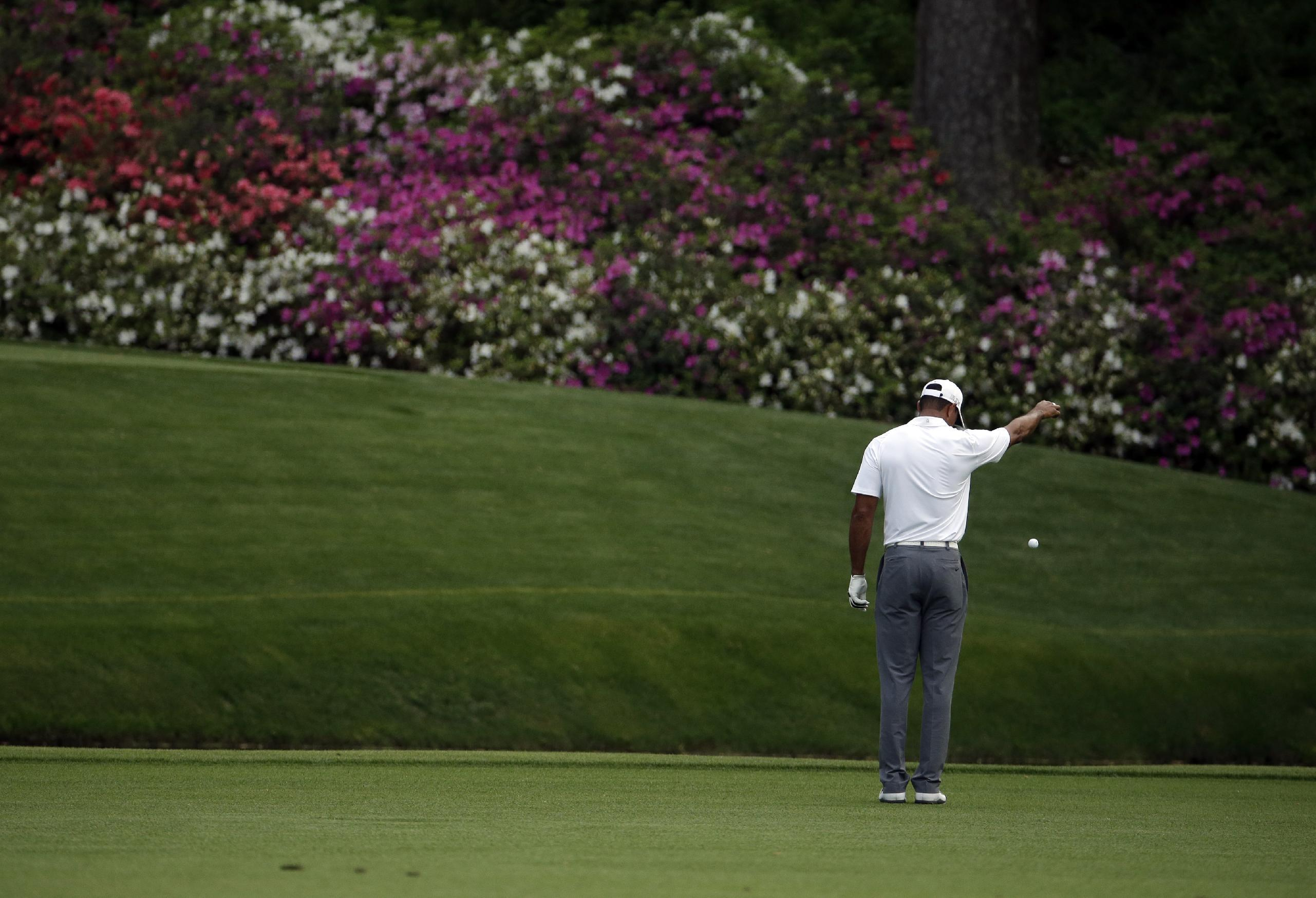Tiger Woods takes a drop after hitting into a creek on the 12th hole. (AP)