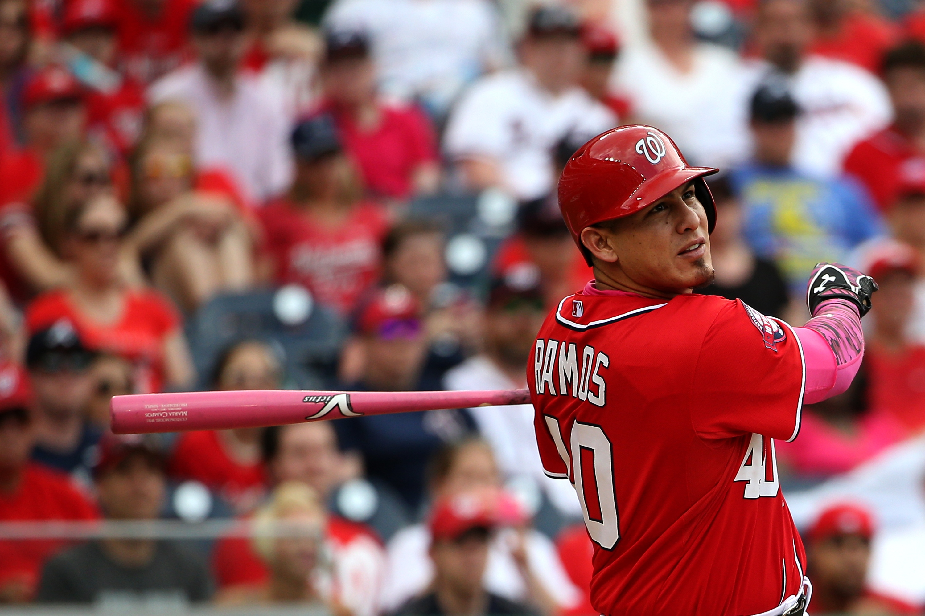 Wilson Ramos still hasn't stopped hitting. (Photo by Patrick Smith/Getty Images)