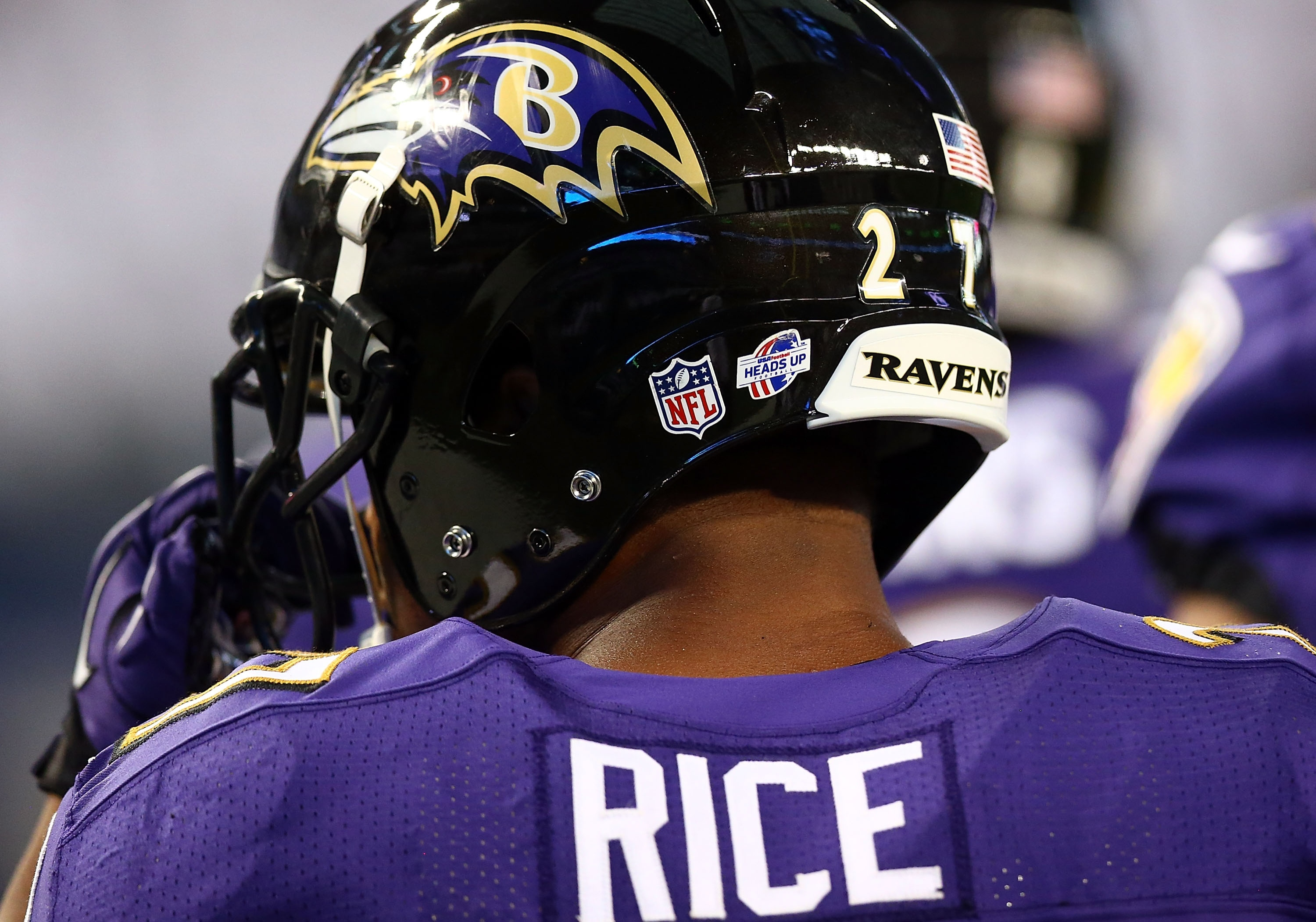 ARLINGTON, TX - AUGUST 16: Ray Rice #27 of the Baltimore Ravens sits on the bench against the Dallas Cowboys in the first half of their preseason game at AT&T Stadium on August 16, 2014 in Arlington, Texas. (Photo by Ronald Martinez/Getty Images)