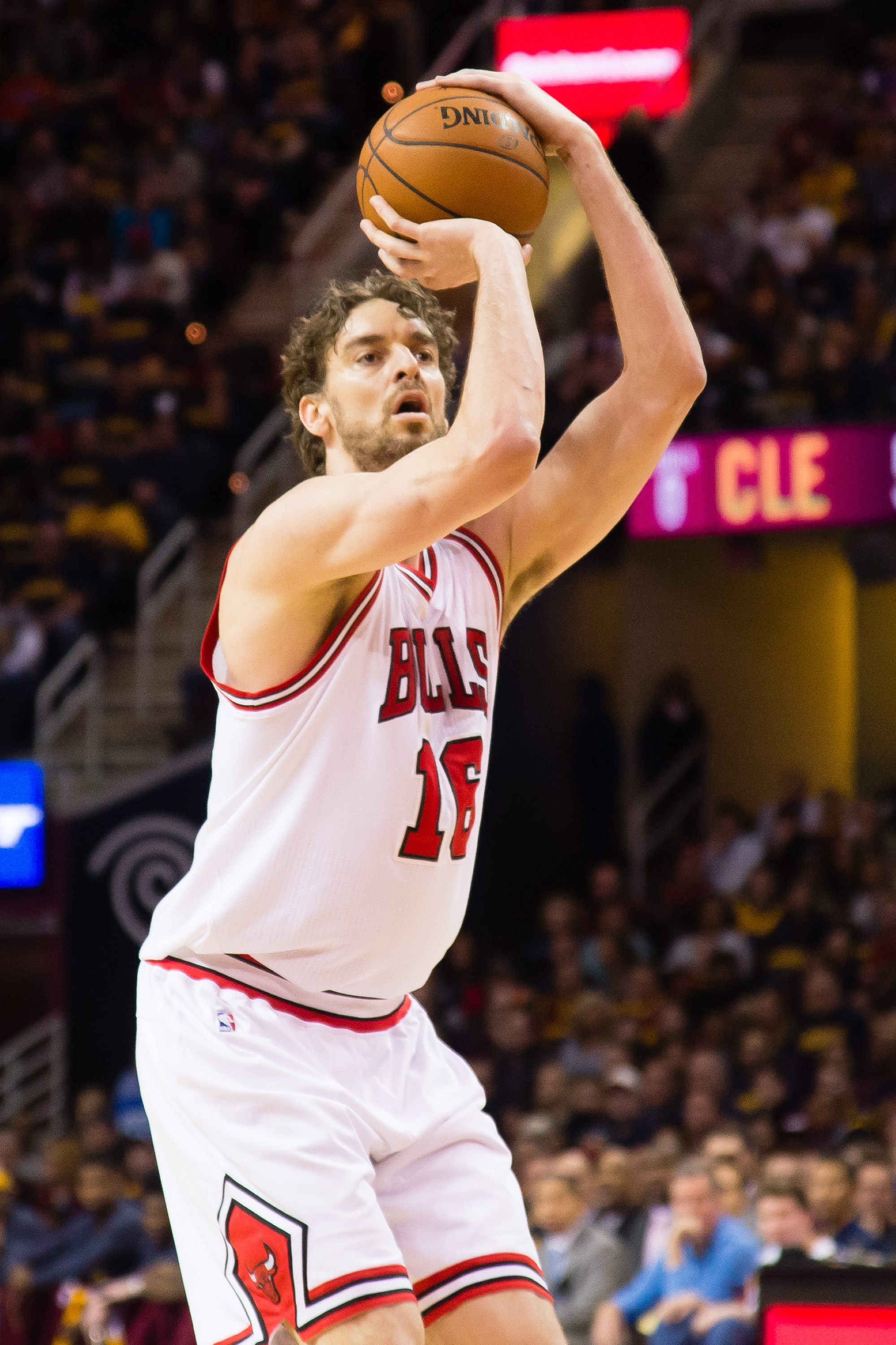 CLEVELAND, OH - APRIL 5: Pau Gasol #16 of the Chicago Bulls shoots during the first half against the Chicago Bulls at Quicken Loans Arena on April 5, 2015 in Cleveland, Ohio. NOTE TO USER: User expressly acknowledges and agrees that, by downloading and or using this photograph, User is consenting to the terms and conditions of the Getty Images License Agreement. (Photo by Jason Miller/Getty Images)