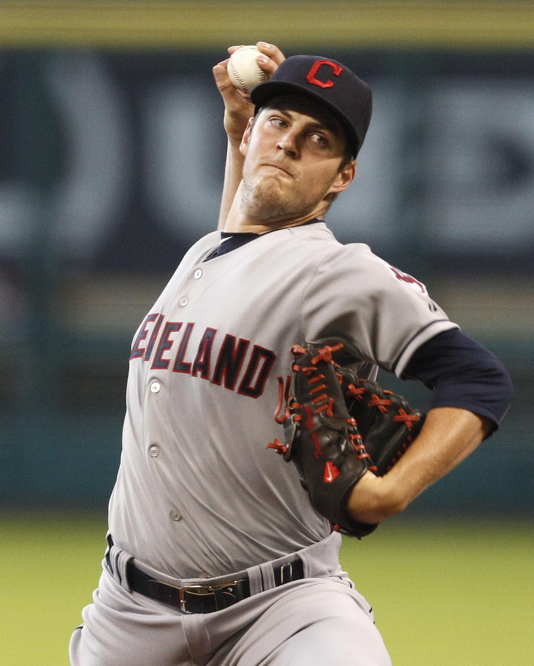 Trevor Bauer, missing bats. (Photo by Bob Levey/Getty Images)