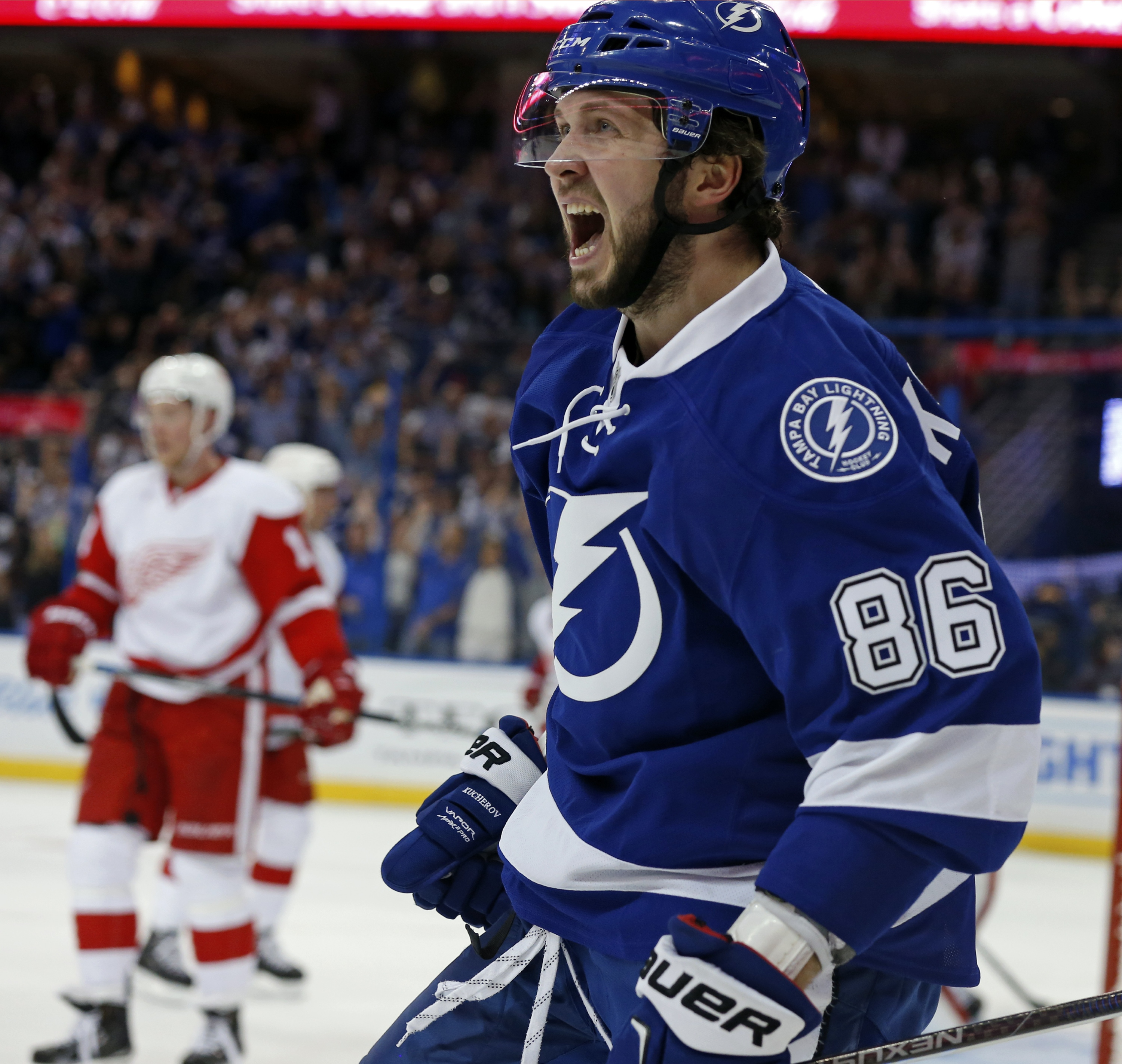 TAMPA, FL - APRIL 13: Nikita Kucherov #86 of the Tampa Bay Lightning celebrates a goal against the Detroit Red Wings during the second period in Game One of the Eastern Conference Quarterfinals during the 2016 NHL Stanley Cup Playoffs at Amalie Arena on April 13, 2016 in Tampa, Florida. (Photo by Mike Carlson/Getty Images)
