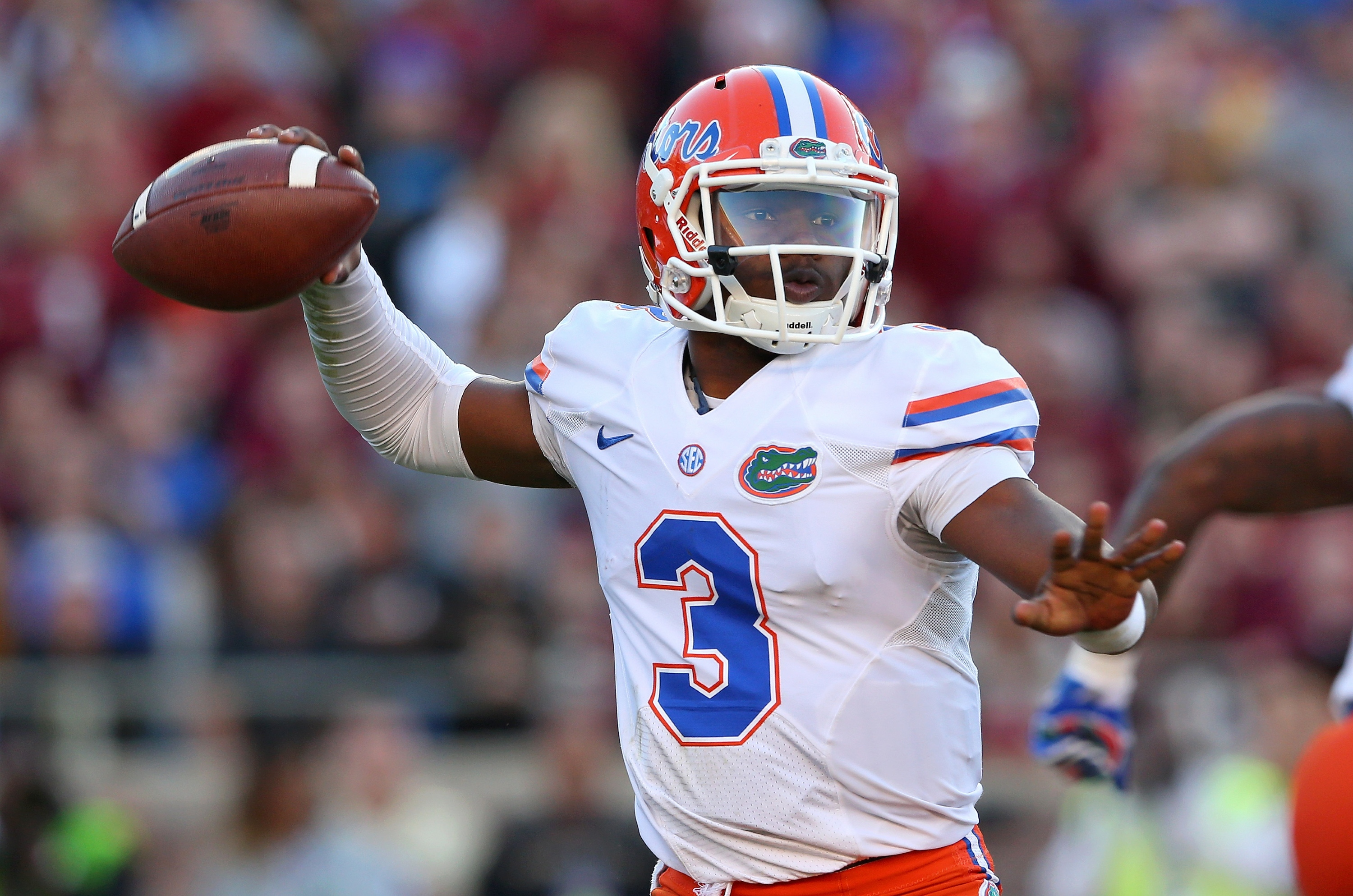 TALLAHASSEE, FL - NOVEMBER 29: Treon Harris #3 of the Florida Gators passes during a game against the Florida State Seminoles at Doak Campbell Stadium on November 29, 2014 in Tallahassee, Florida. (Photo by Mike Ehrmann/Getty Images)