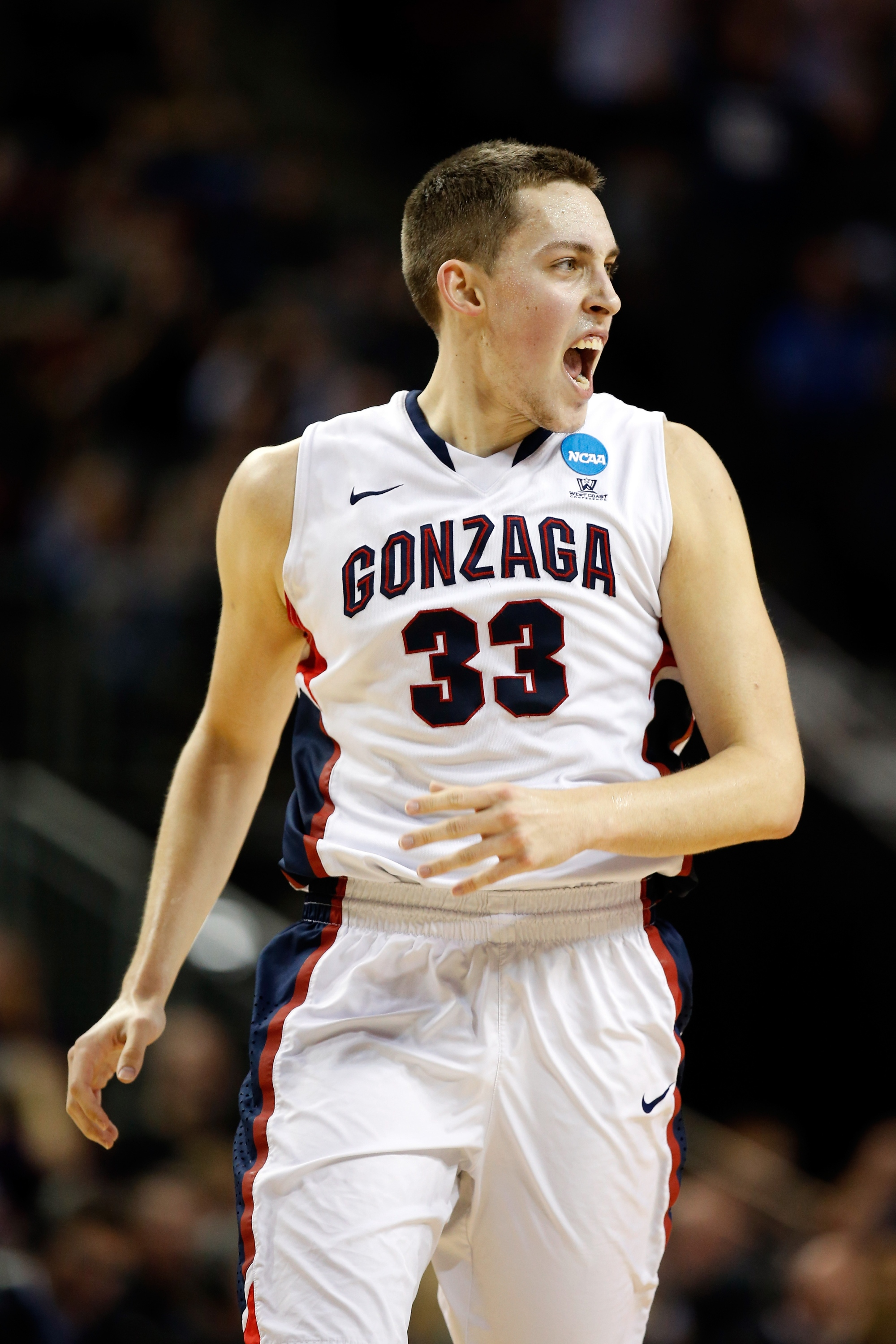 SEATTLE, WA - MARCH 22:  Kyle Wiltjer #33 of the Gonzaga Bulldogs reacts after a shot in the second half of the game against the Iowa Hawkeyes during the third round of the 2015 NCAA Men's Basketball Tournament at KeyArena on March 22, 2015 in Seattle, Washington.  (Photo by Ezra Shaw/Getty Images)