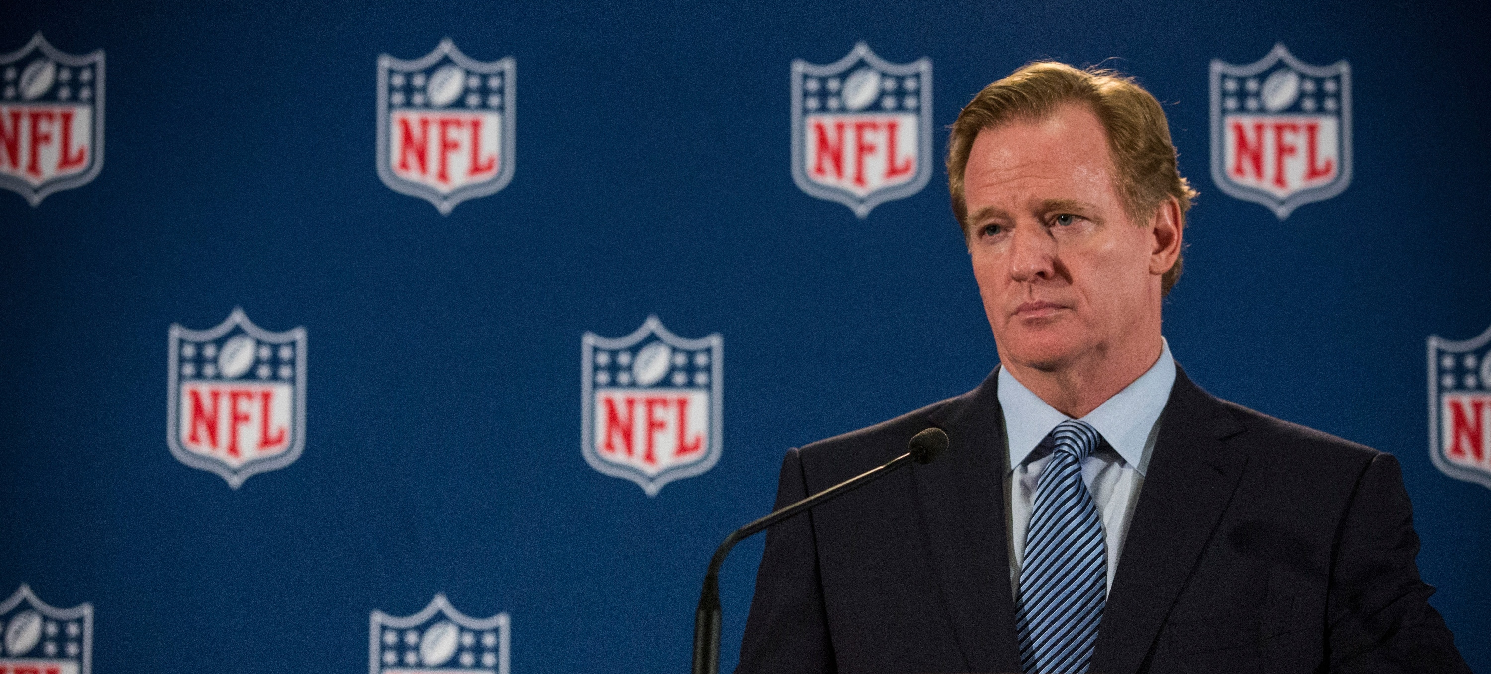 NEW YORK, NY - OCTOBER 08: NFL Commissioner Roger Goodell holds a press conference on October 8, 2014 in New York City. Goodell addressed the media at the conclusion of the annual Fall league meeting in the wake of a string of high-profile incidents, including the domestic violence case of Ray Rice. (Photo by Andrew Burton/Getty Images)