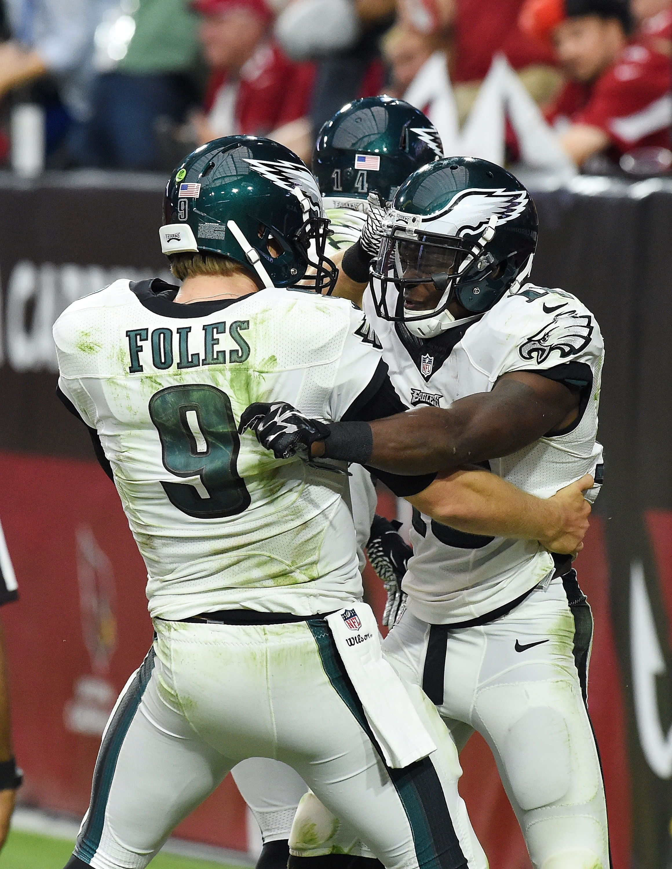 Foles and Maclin, mid-feast (Photo by Norm Hall/Getty Images)