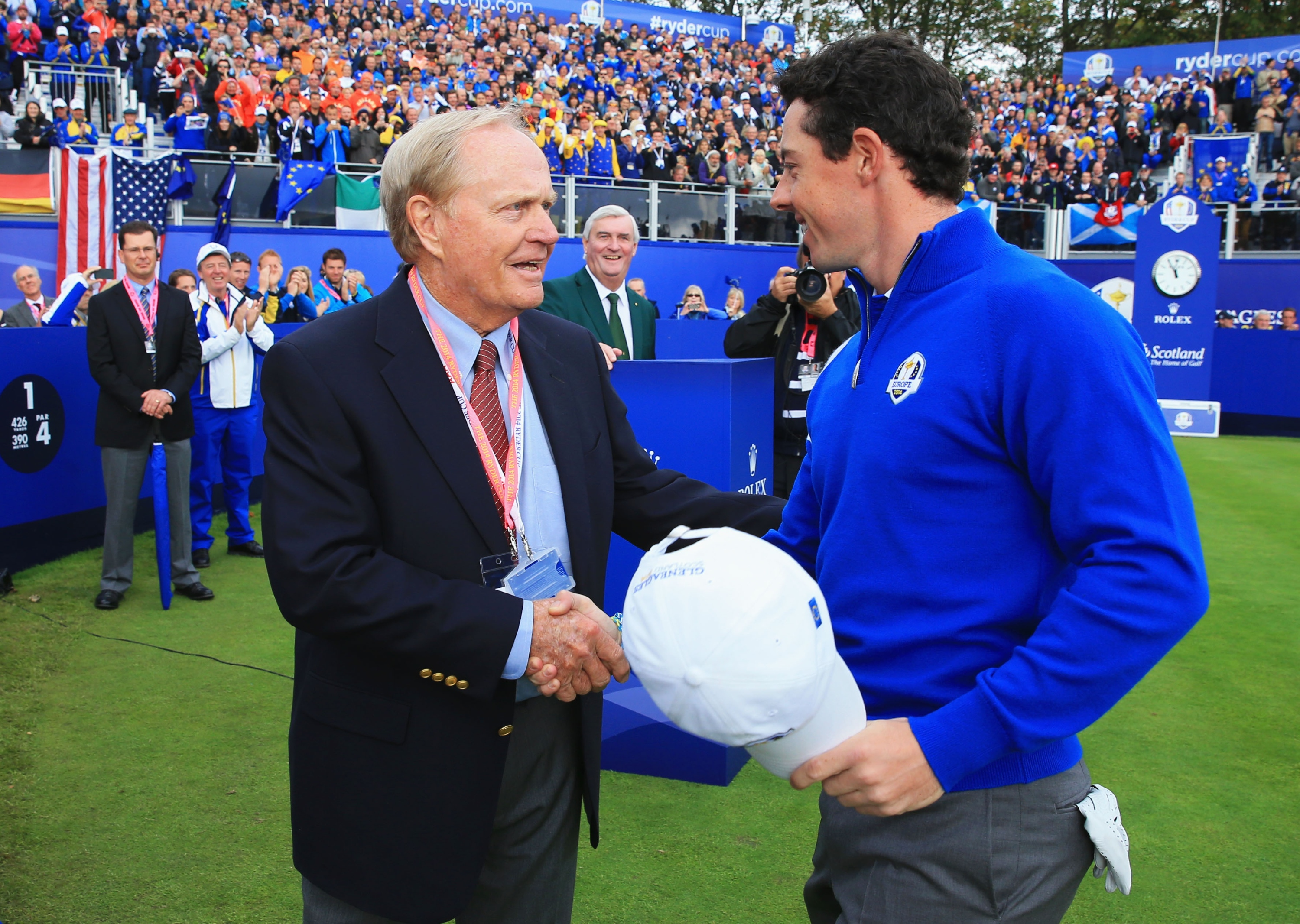 Rory McIlroy shakes hands with Jack Nicklaus. (Getty Images)