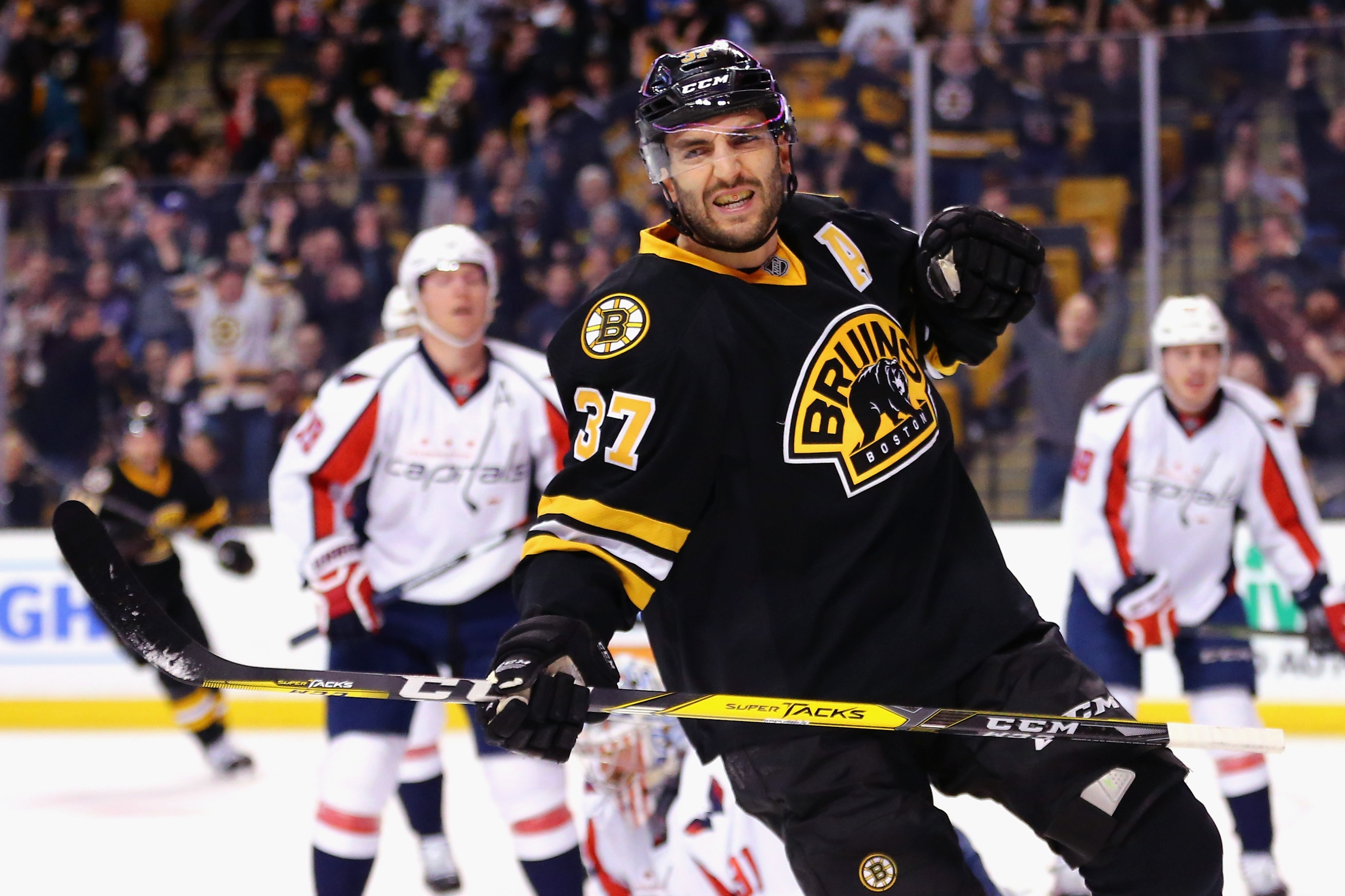 BOSTON, MA - MARCH 05:  Patrice Bergeron #37 of the Boston Bruins celebrates after scoring against the Washington Capitals during the first period at TD Garden on March 5, 2016 in Boston, Massachusetts.  (Photo by Maddie Meyer/Getty Images)