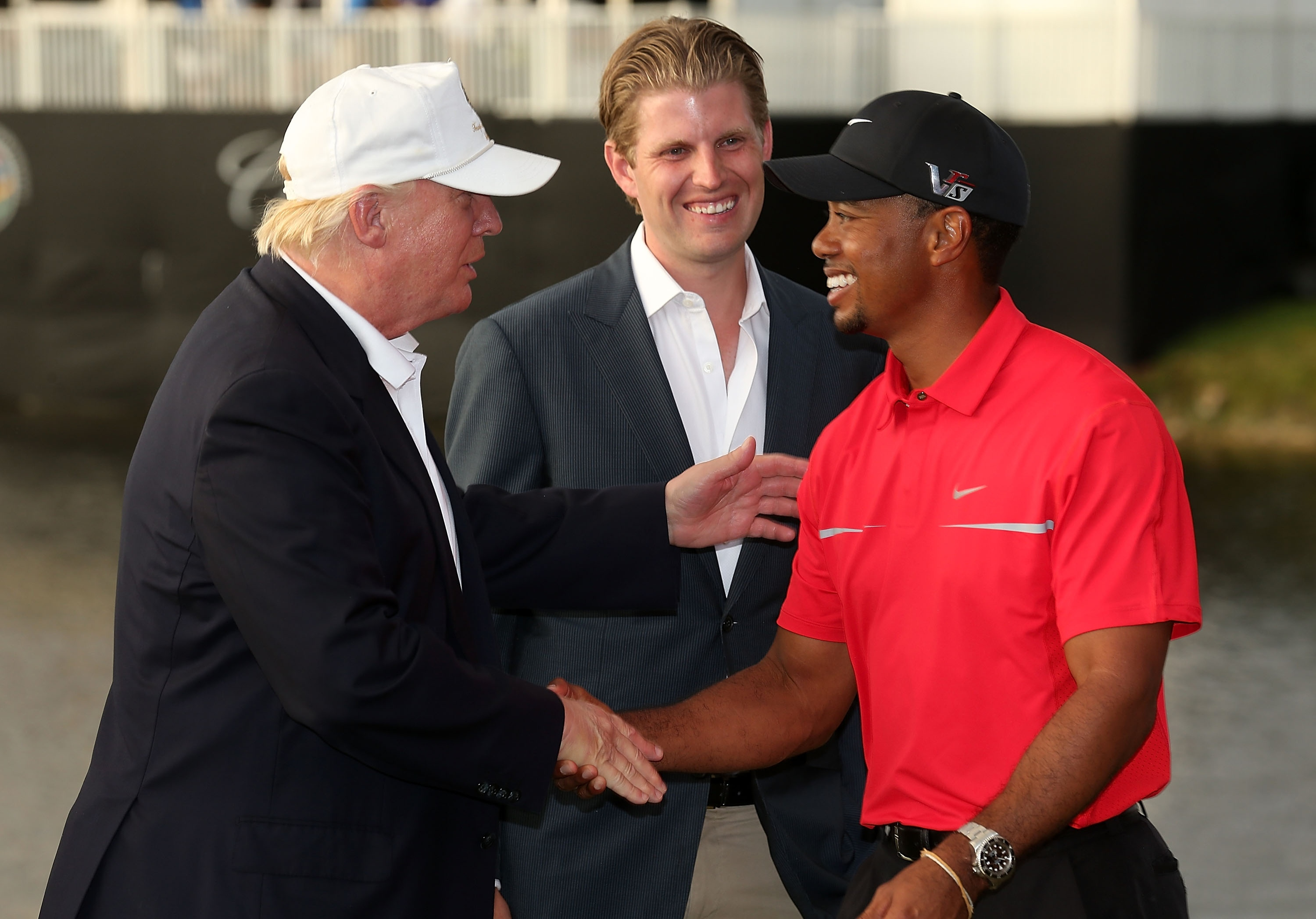 Donald Trump greets Tiger Woods in 2013 at what turned out to be one of the last PGA Tour tournaments at Trump Doral. (Getty)
