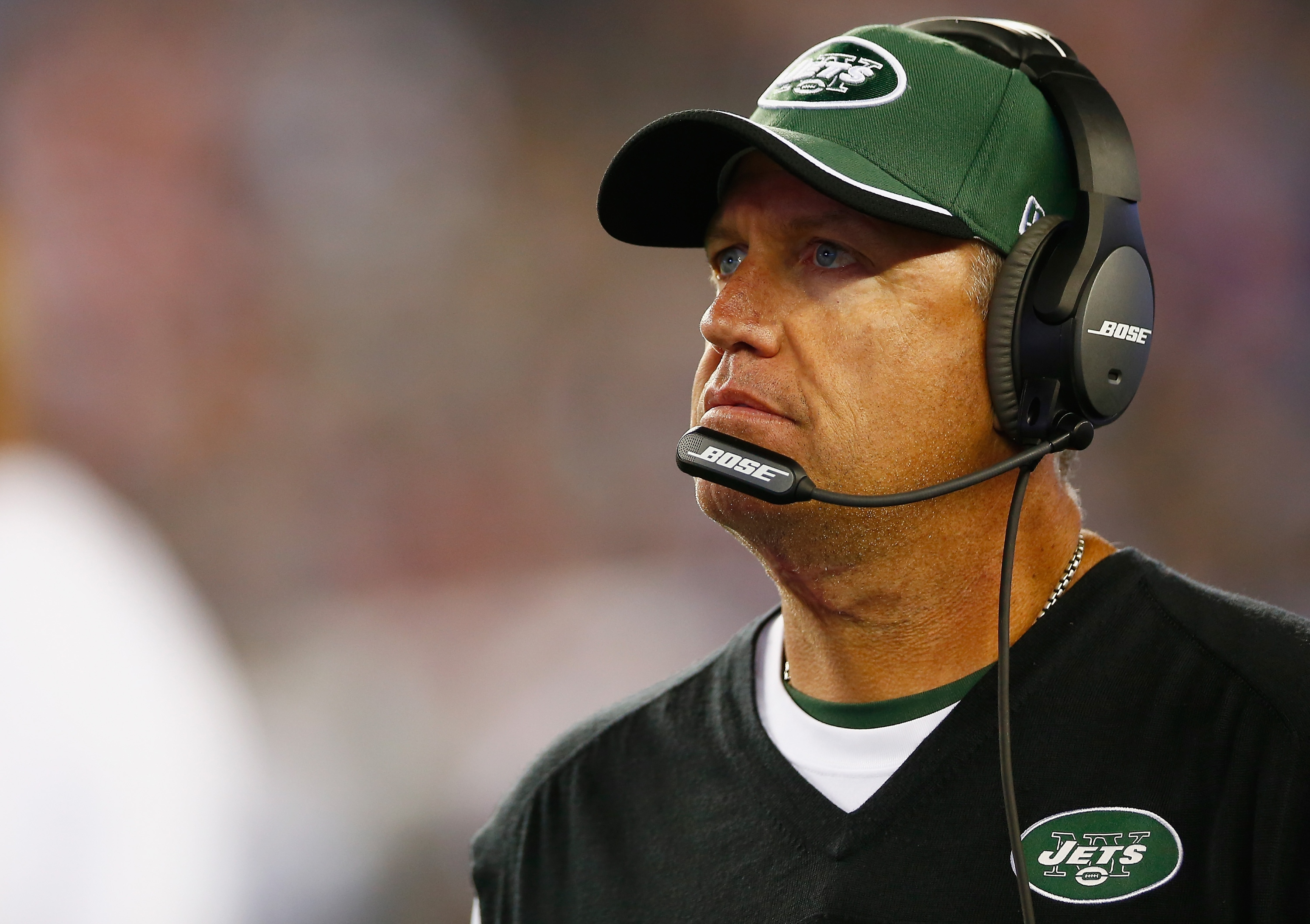 FOXBORO, MA - OCTOBER 16:  Head coach Rex Ryan of the New York Jets looks on during the second quarter against the New England Patriots at Gillette Stadium on October 16, 2014 in Foxboro, Massachusetts.  (Photo by Jared Wickerham/Getty Images)