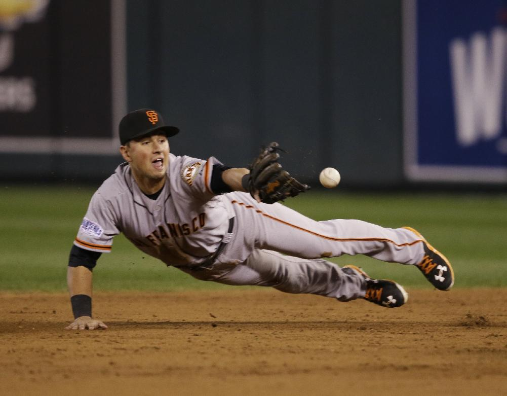 Joe Panik's glove flip started a nice double play for the Giants in the third. (AP)
