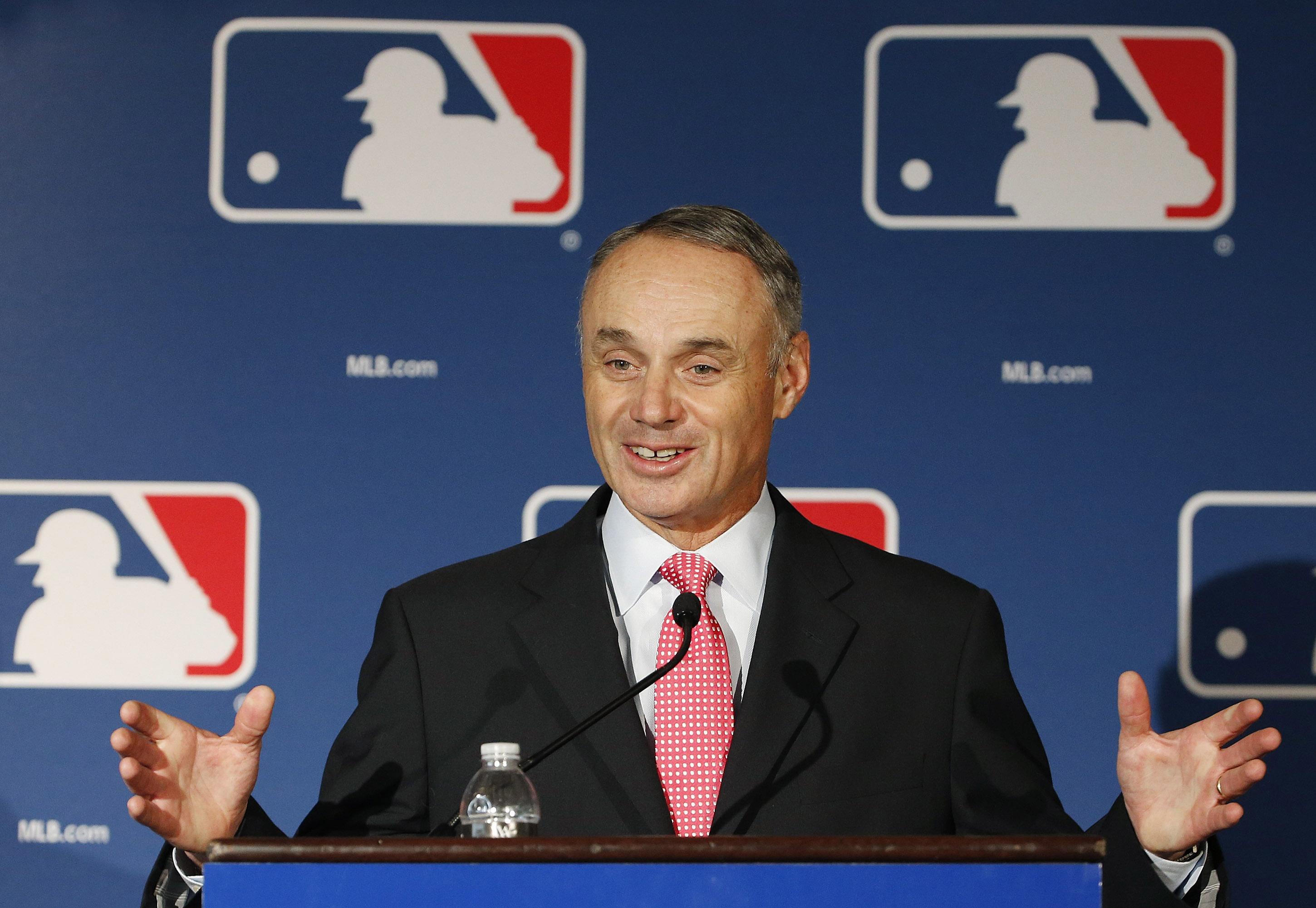 New commish Rob Manfred rules baseball at a time when the game has never been more profitable. (AP)
