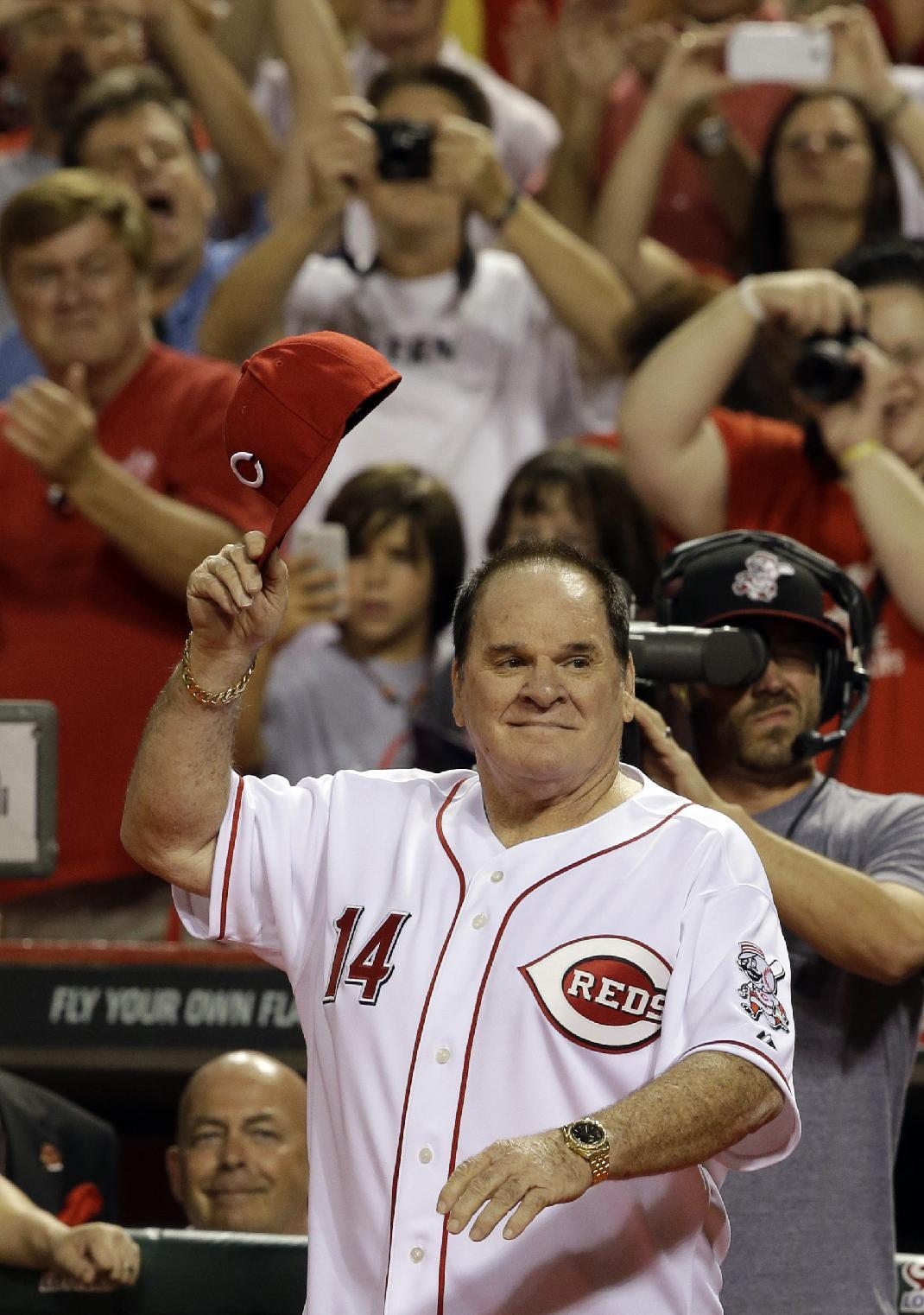 Pete Rose was one of the Reds World Series winners honored in 2013. (AP)