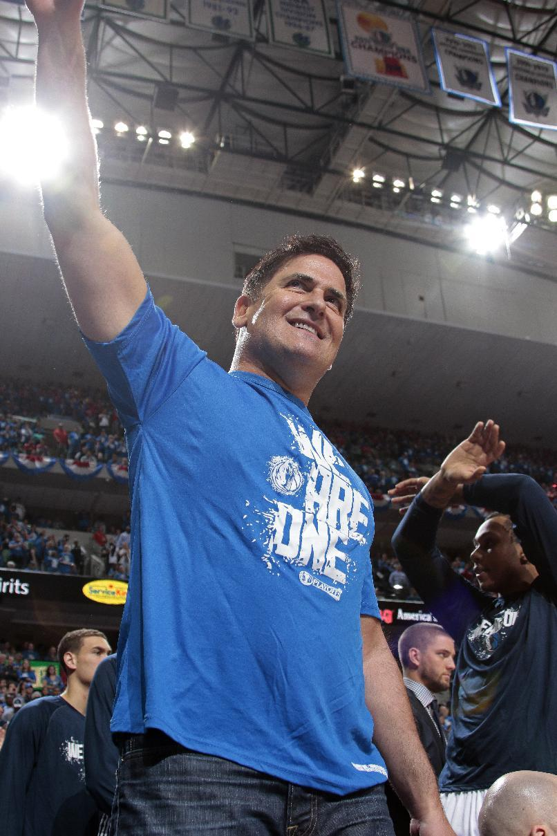 DALLAS, TX - APRIL 24: Mark Cuban, owner of the Dallas Mavericks waves to the crowd against the Houston Rockets during Game Three of the Western Conference Quarterfinals of the 2015 NBA Playoffs on April 24, 2015 at the American Airlines Center in Dallas, Texas. (Photo by Danny Bollinger/NBAE via Getty Images)