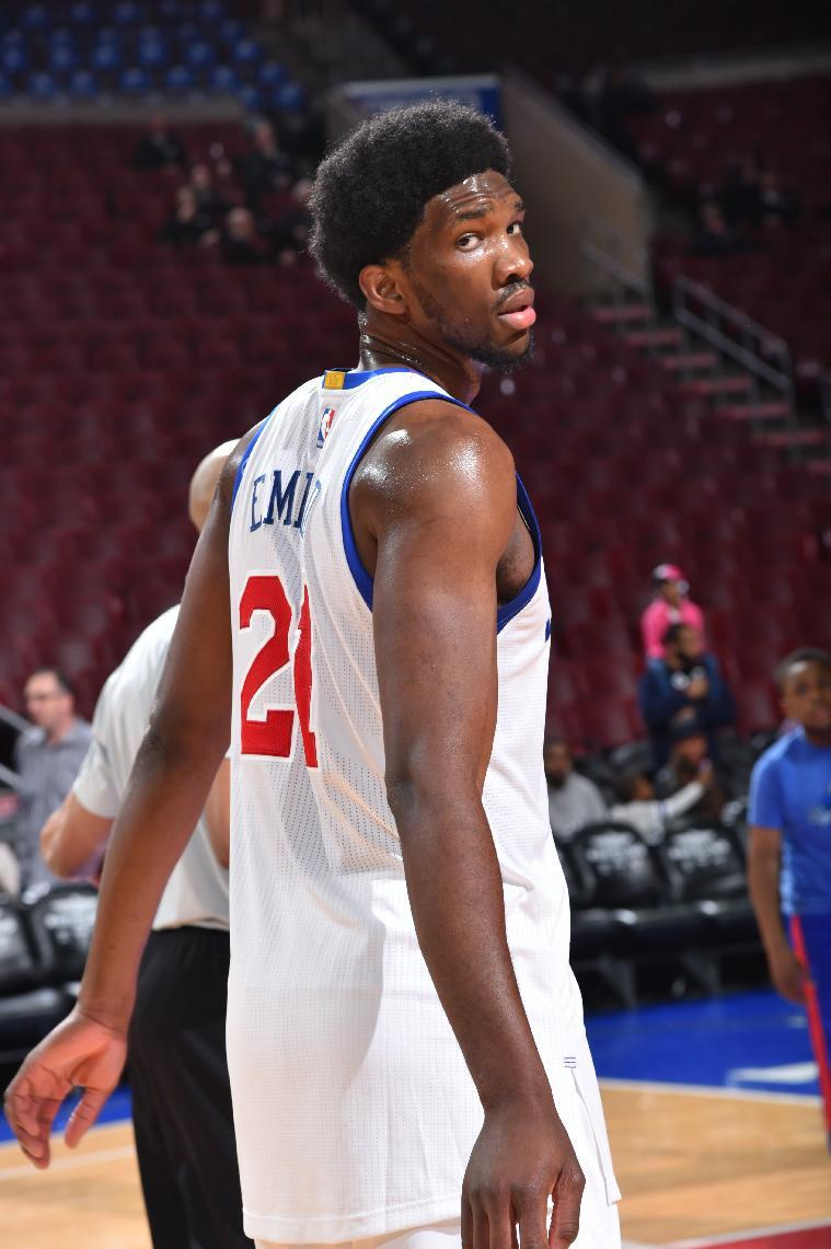 Joel Embiid warms up prior to an April 2015 game. (Jesse D. Garrabrant/NBAE/Getty Images)
