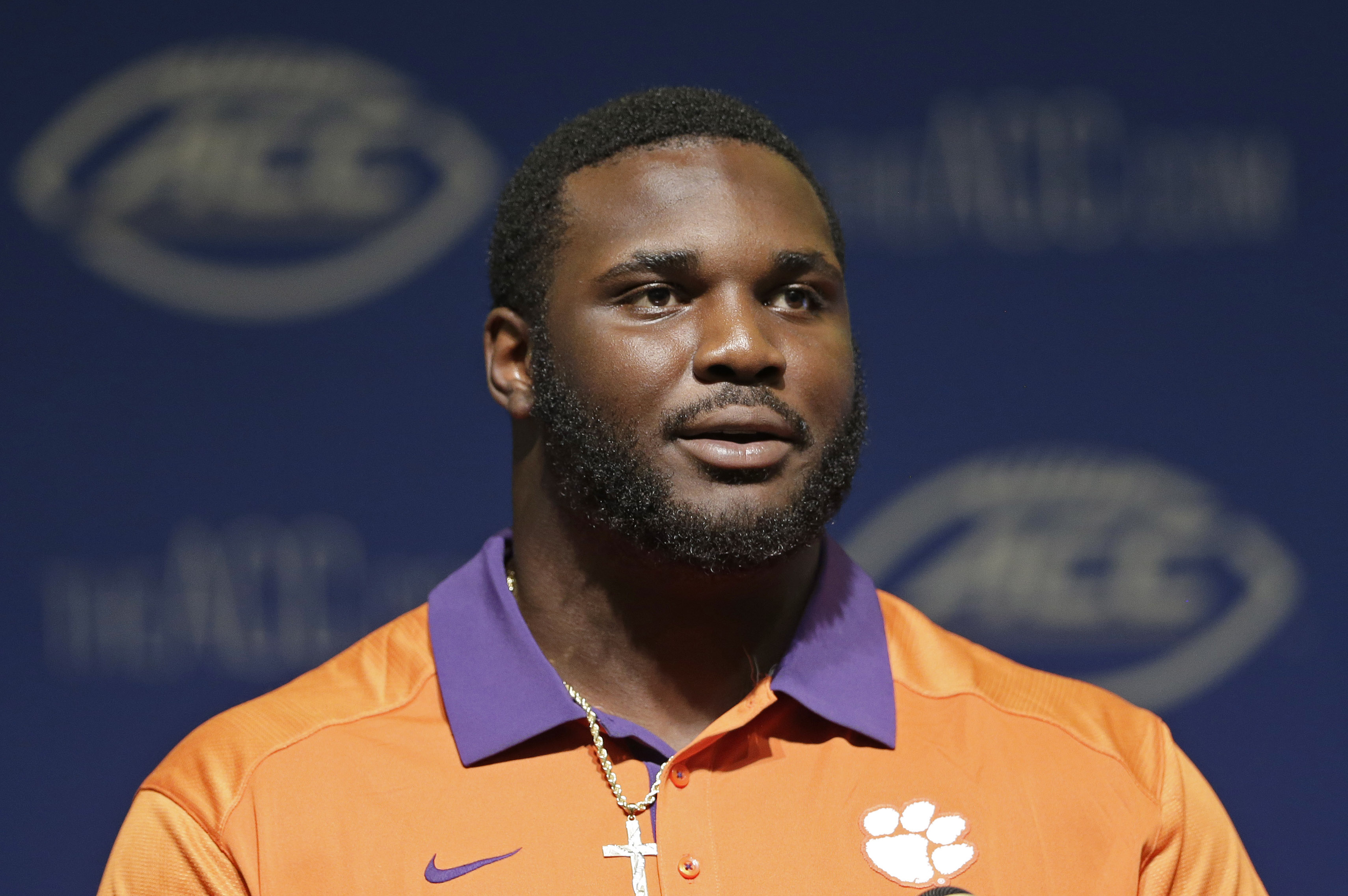 Clemson's D.J. Reader responds to questions during the ACC NCAA college football kickoff in Pinehurst, N.C., Monday, July 20, 2015. (AP Photo/Gerry Broome)