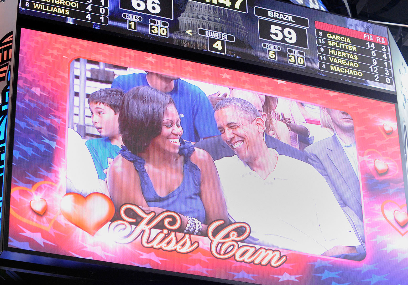 President Obama and first lady Michelle Obama are caught on Kiss Cam at a basketball game. (Getty Images)