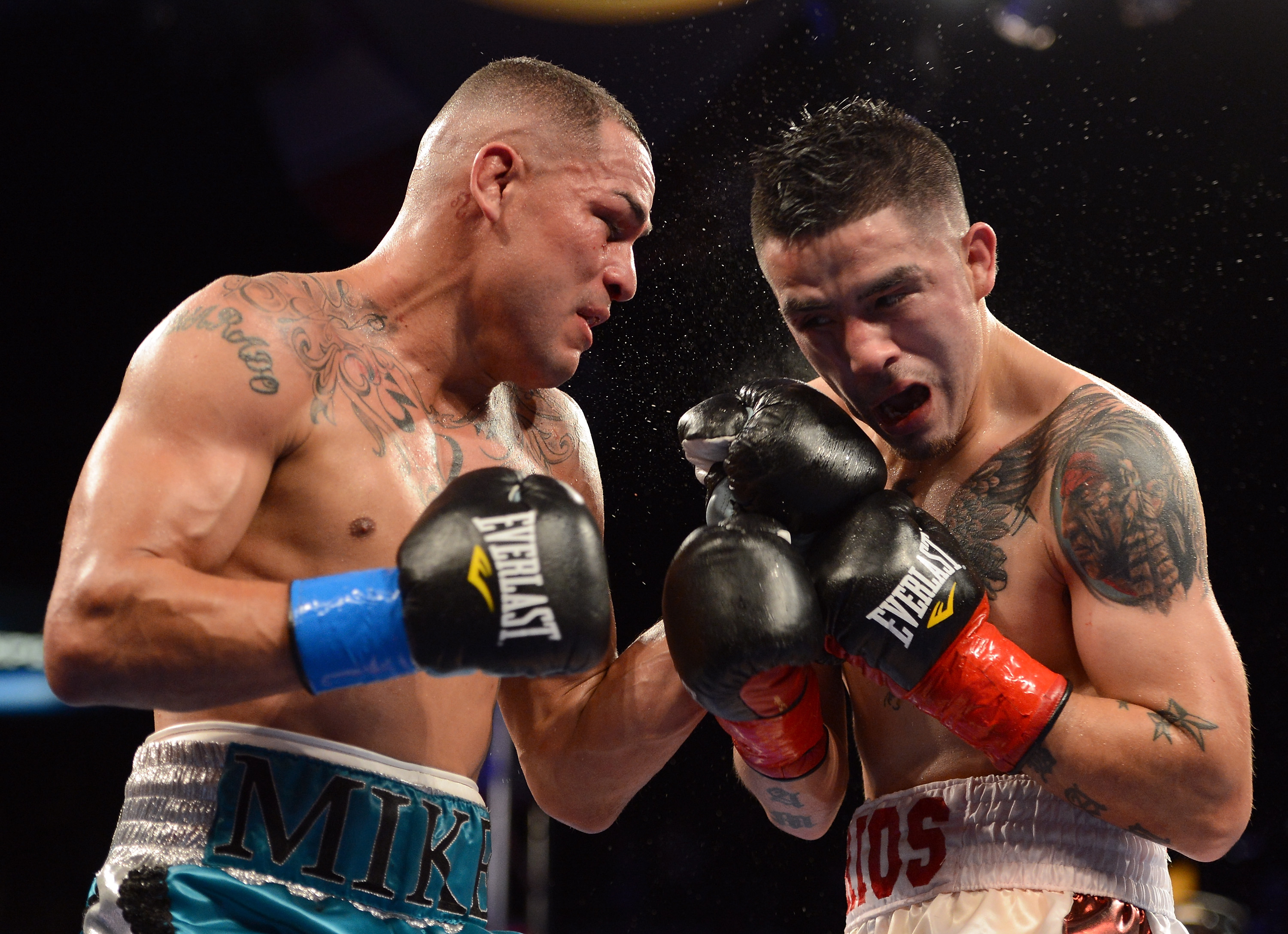 Mike Alvarado (left) doled out some serious punishment before being stopped by Brandon Rios. (Getty Images)