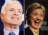 Precandidato republicano John McCain y la senadora demócrata Hillary Clinton