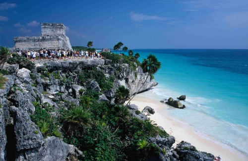 The archaeological site of Tulum and the ruins of El Castillo