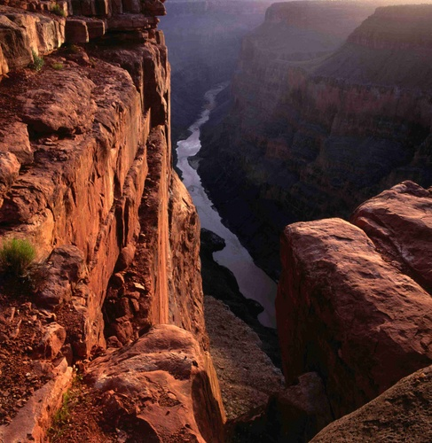 The Colorado River at sunrise from the Toroweep lookout, 3000 feet.