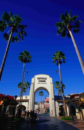 Gates to Fantasy: entrance to Universal Studios, Hollywood, Los Angeles.