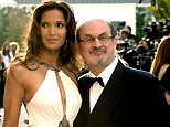 Salman Rushdie (R) and wife Padma Lakshmi arrive at the Vanity Fair Oscar Party at Mortons in West Hollywood, in this file photo from March 5, 2006. (Reuters)