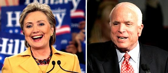 Democratic presidential hopeful Sen. Hillary Clinton, left, Republican presidential hopeful Sen. John McCain, right.