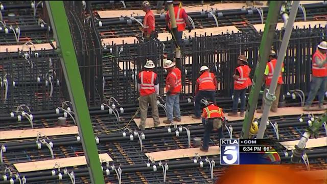 Nearly 20-Hour Concrete Pour Underway at New Wilshire Grand Site