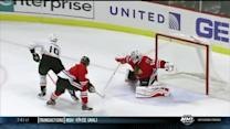 Corey Crawford denies Corey Perry in tight