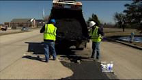 Crews Work To Repair Potholes After Icy Weather