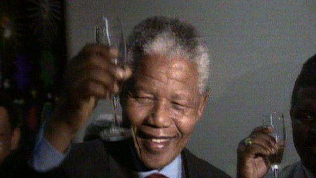Nelson Mandela receives Nobel Peace Prize
