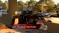 Cars Collide At Toll Plaza