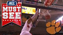 Clemson's Jaron Blossomgame Skies for Alley-Oop Slam | ACC Must See Moment