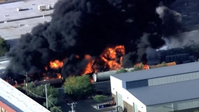 Two people burned in oil tanker explosion